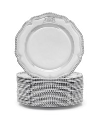 A SET OF TWENTY-FOUR GEORGE III SILVER DINNER PLATES