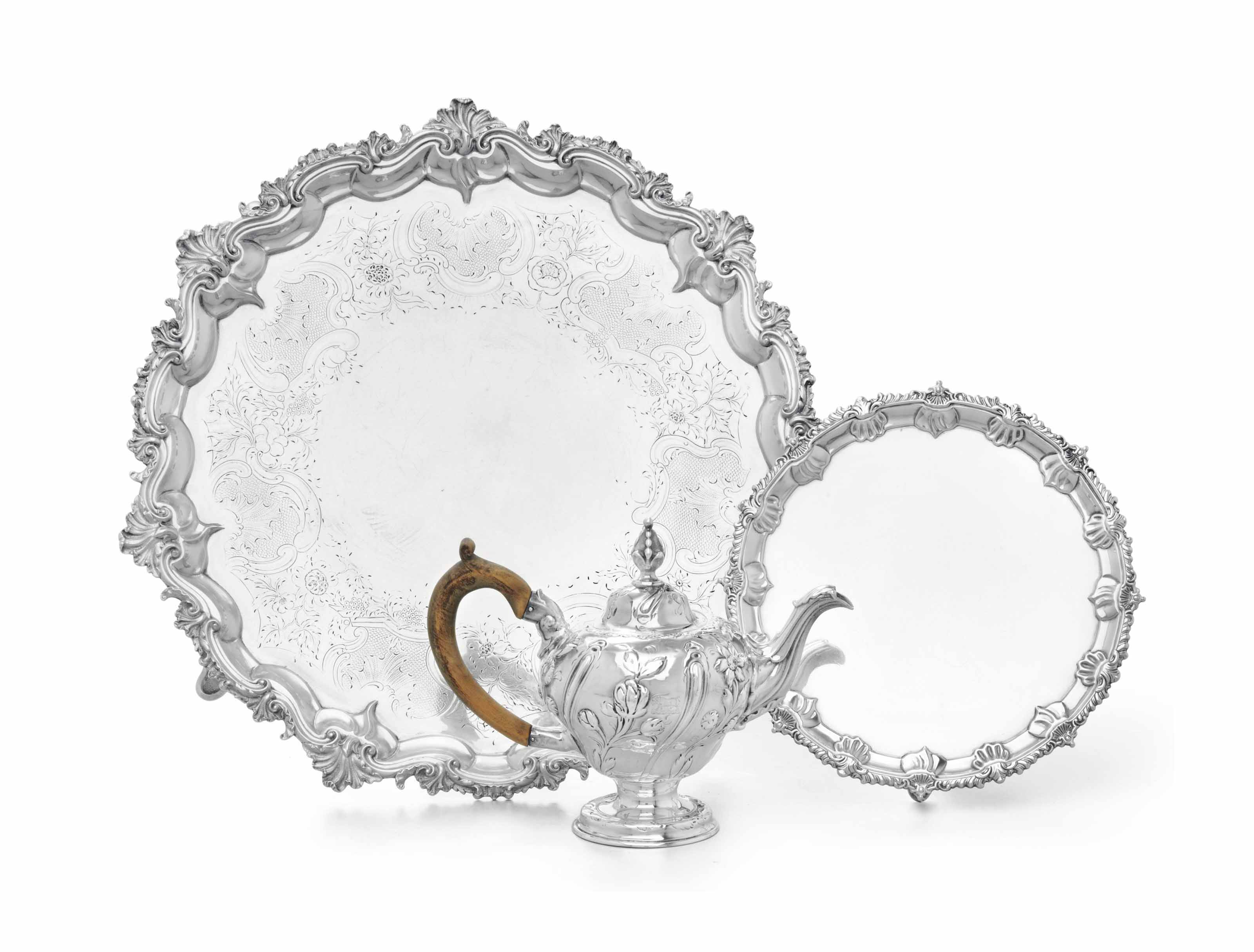 A GEORGE III SILVER TEAPOT, WAITER, AND SALVER