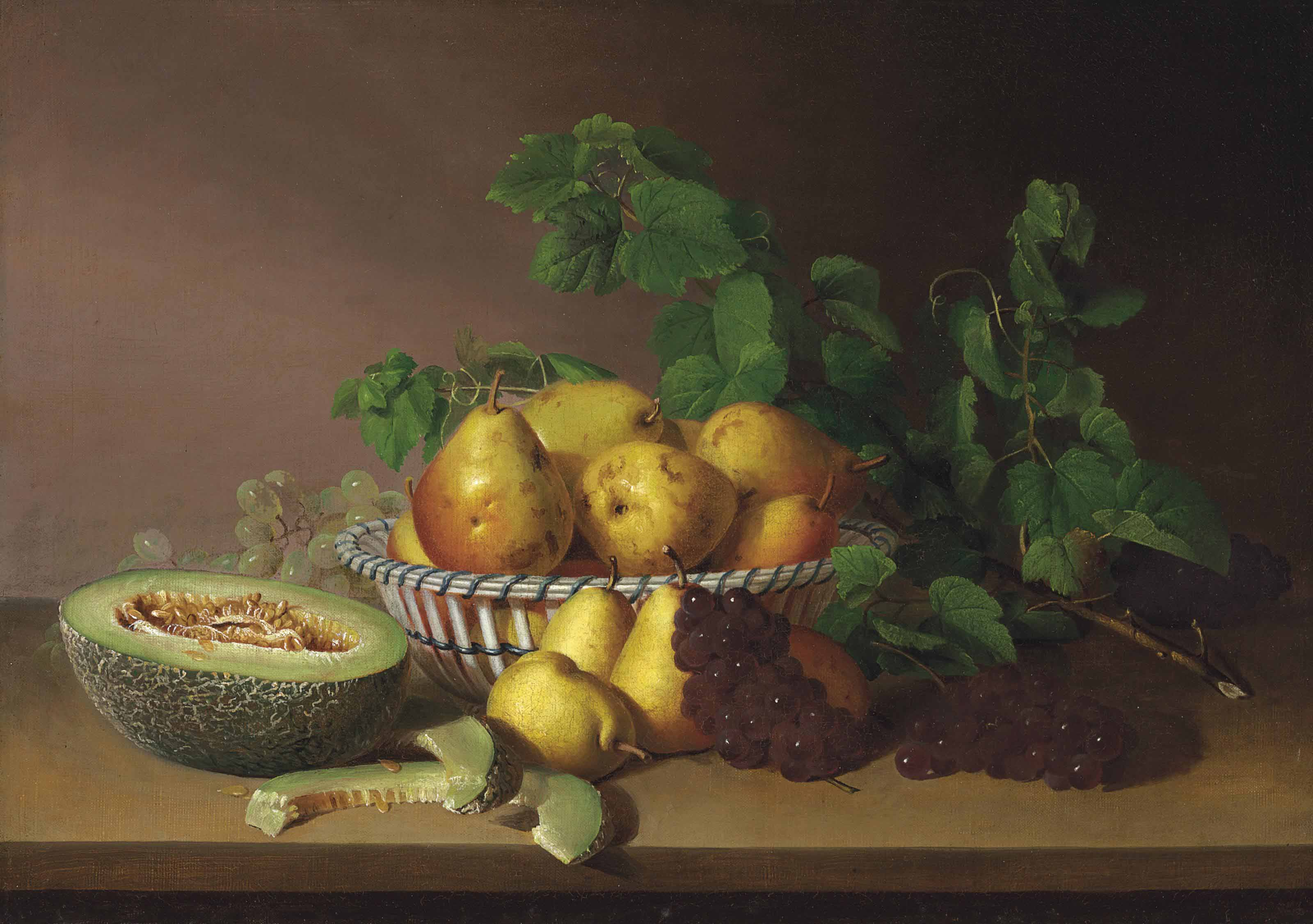 Still Life with Pears, Grapes and Autumn Leaves