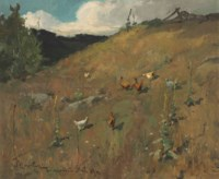 Landscape with Chickens