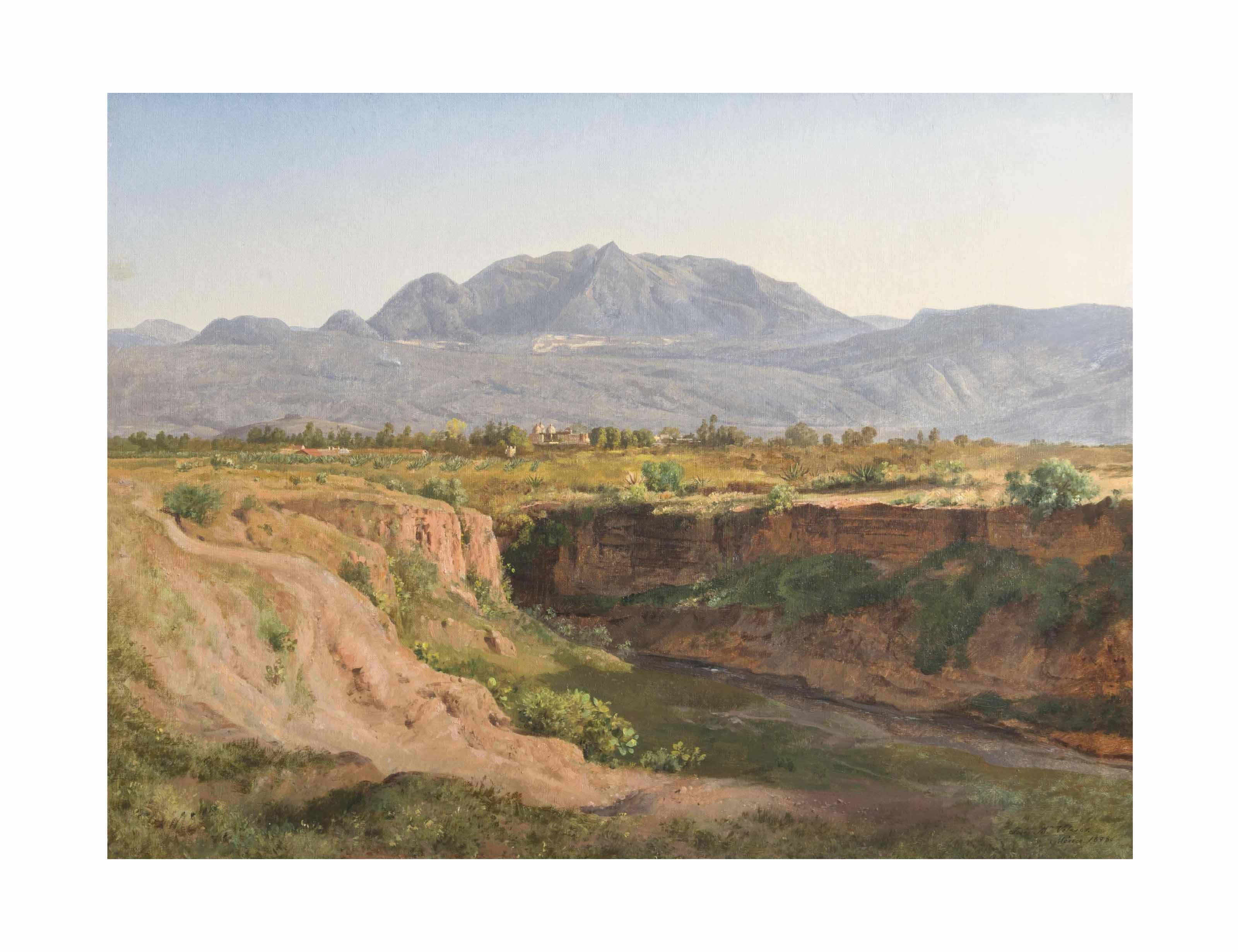 Vista del Ajusco y Pueblo de San Ángel desde la Barranca del Muerto