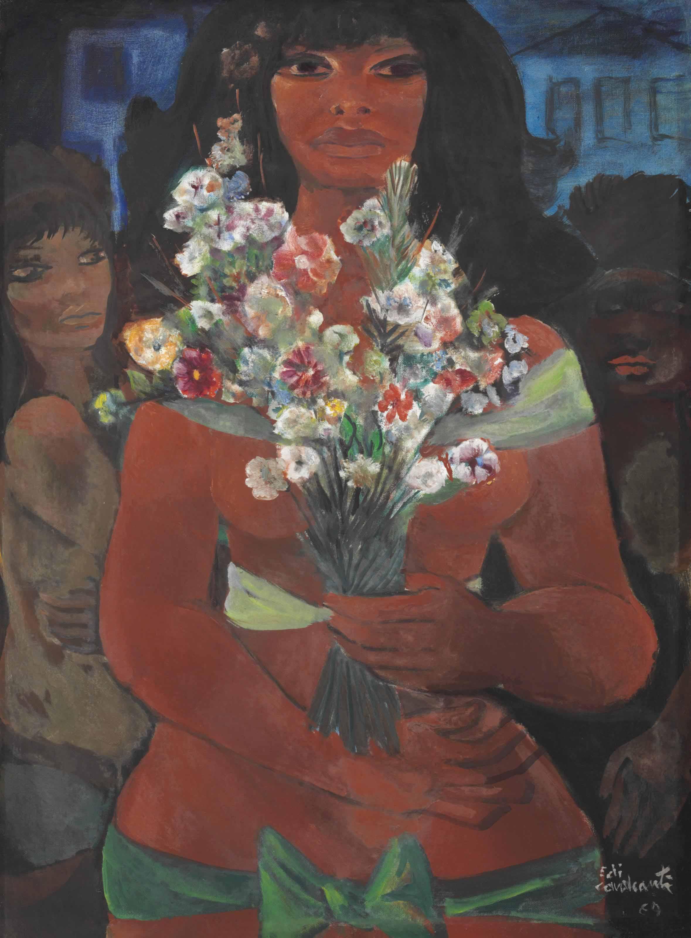 Mulata com flores