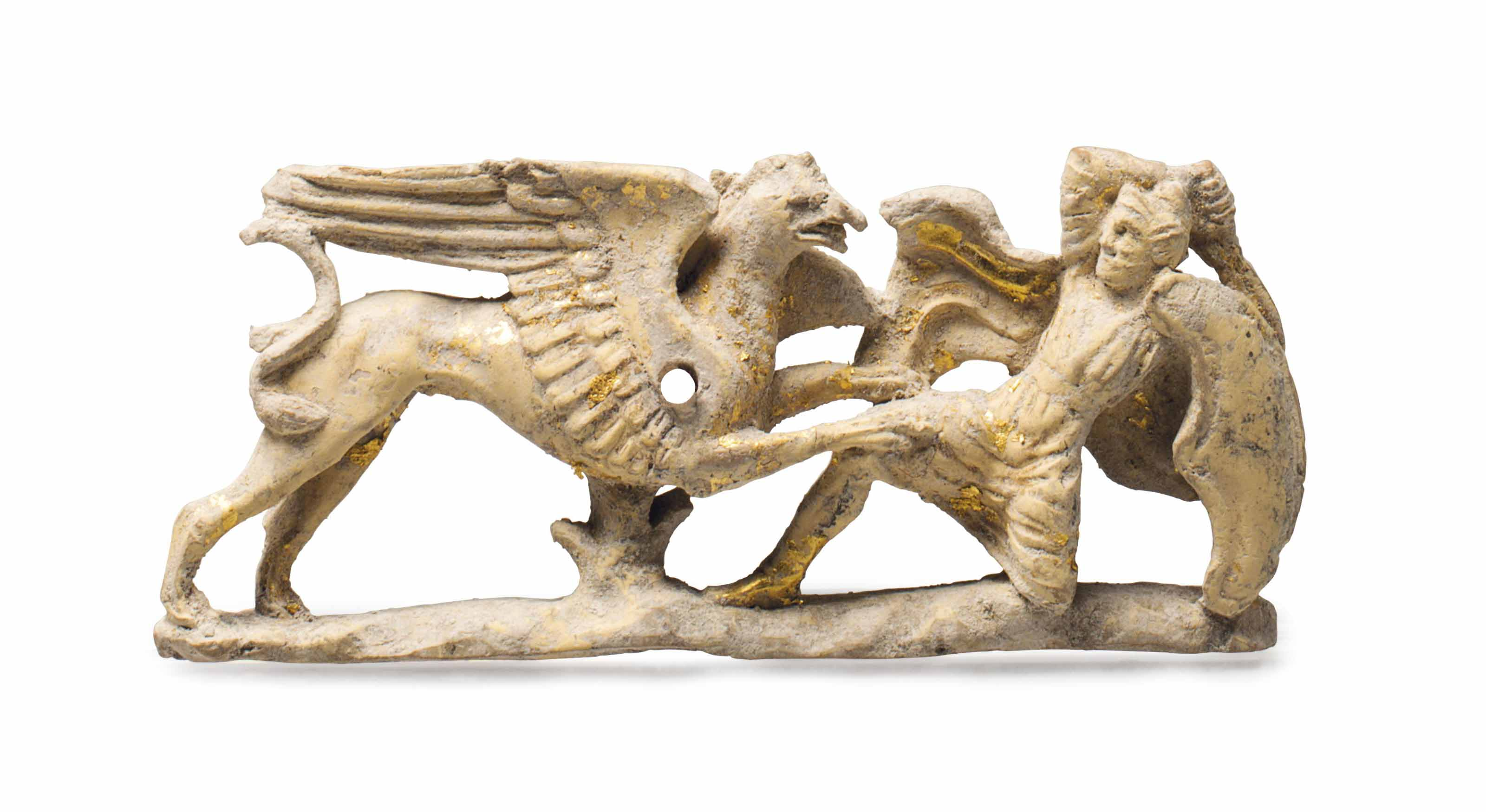 A greek gilt terracotta appliquÉ tarantine circa 350 325 b.c.