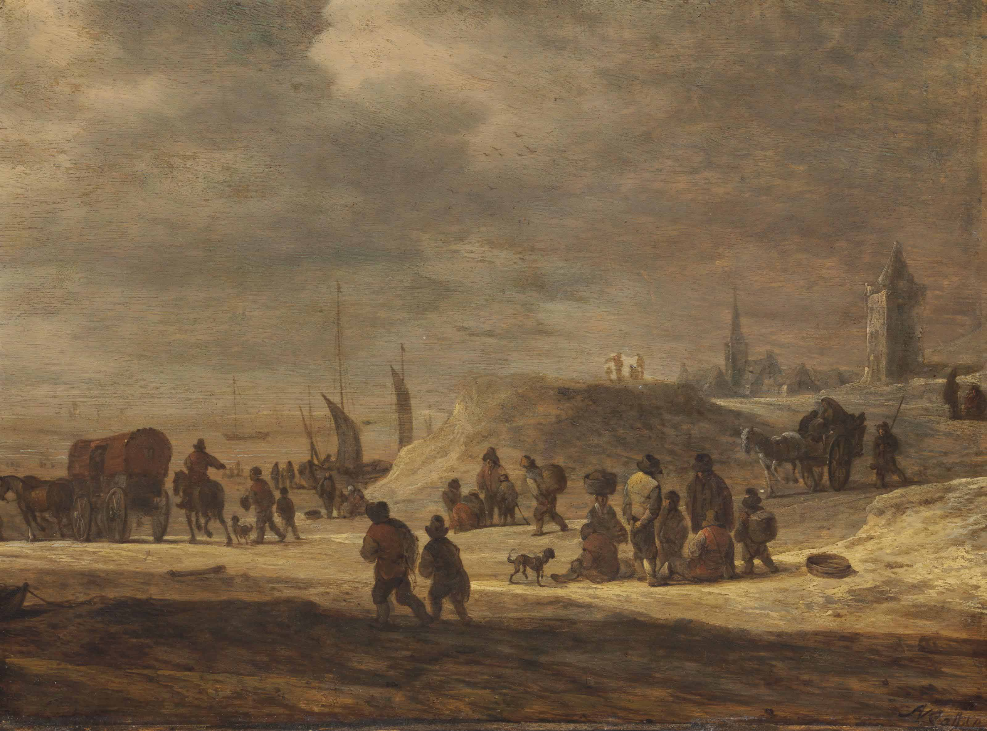 Fishermen and peasants on a beach with a village beyond