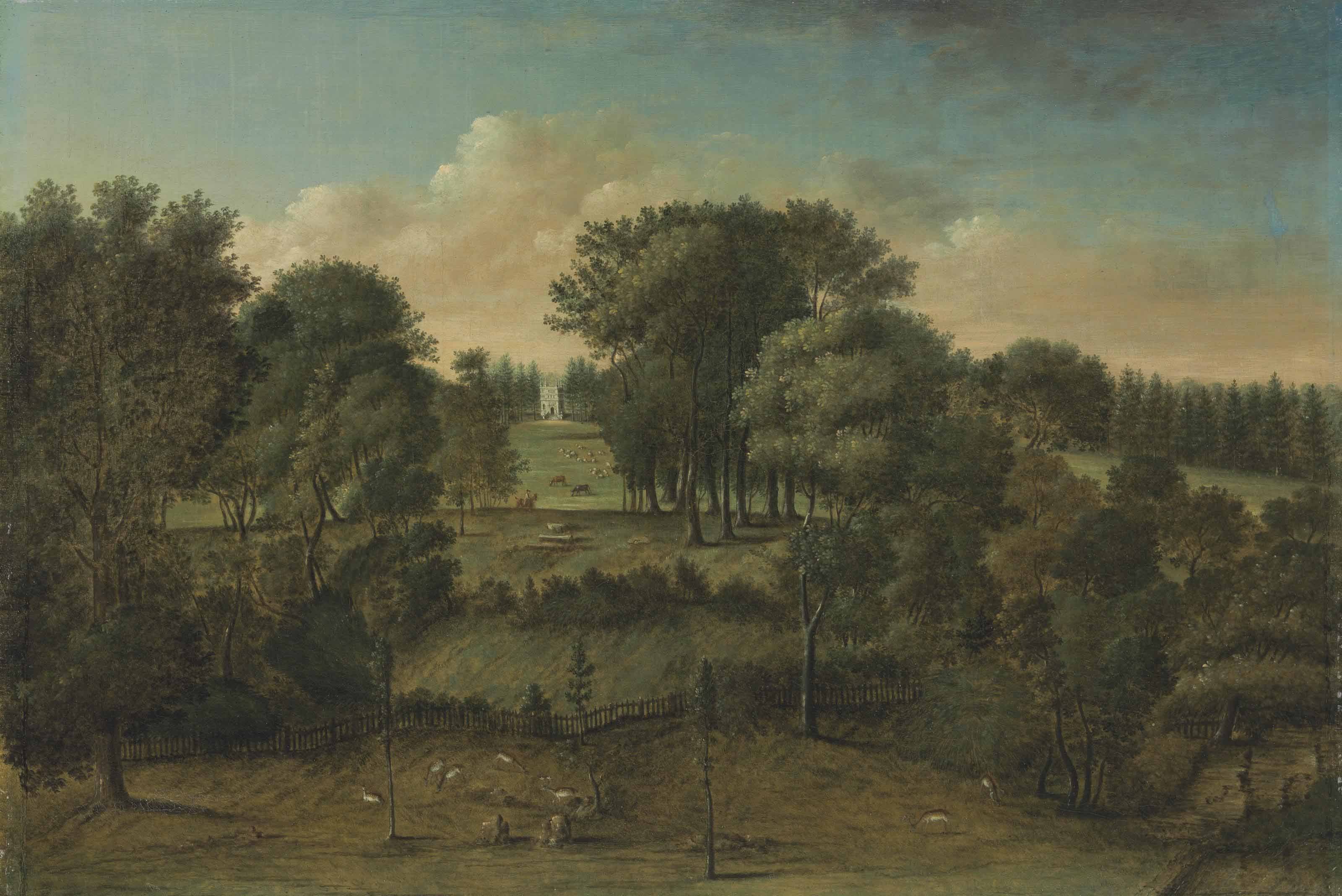 Studley Royal, Yorkshire: An extensive view of the park with the Octagon Tower in the distance