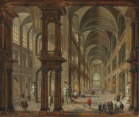 An imaginary church interior with figures