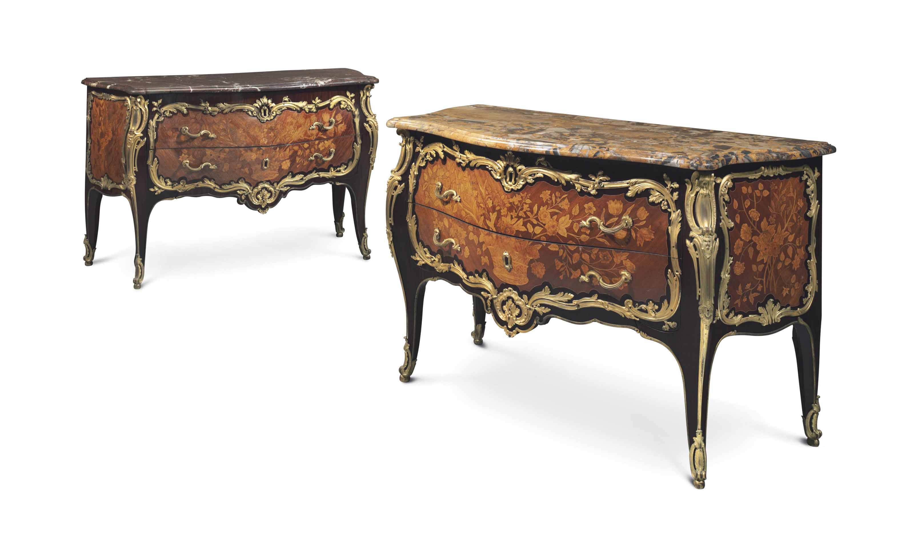 A PAIR OF LOUIS XV ORMOLU-MOUNTED BOIS SATINE, AMARANTH AND MARQUETRY COMMODES