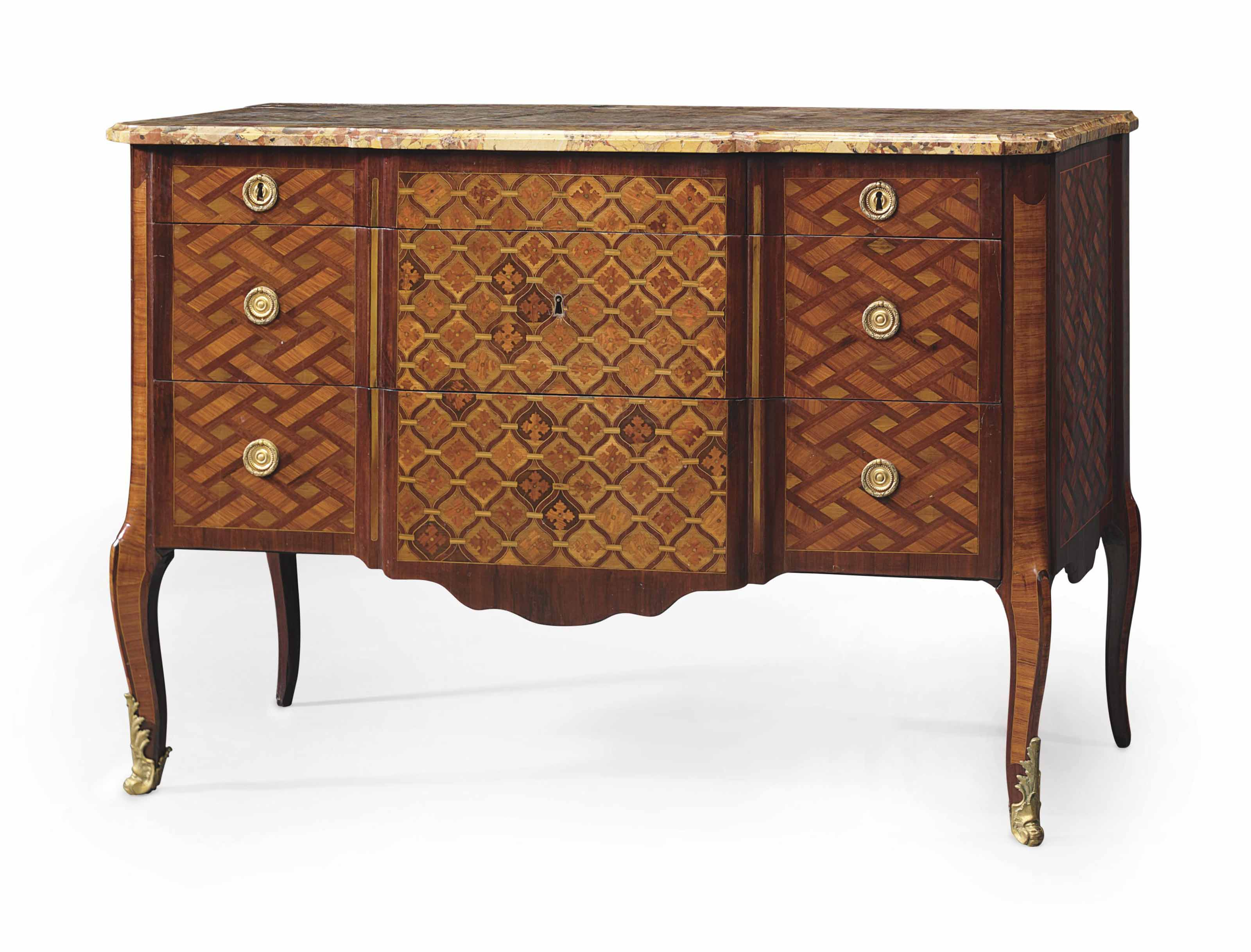 A LATE LOUIS XV TULIPWOOD, AMARANTH, BOIS SATINE AND PARQUETRY COMMODE
