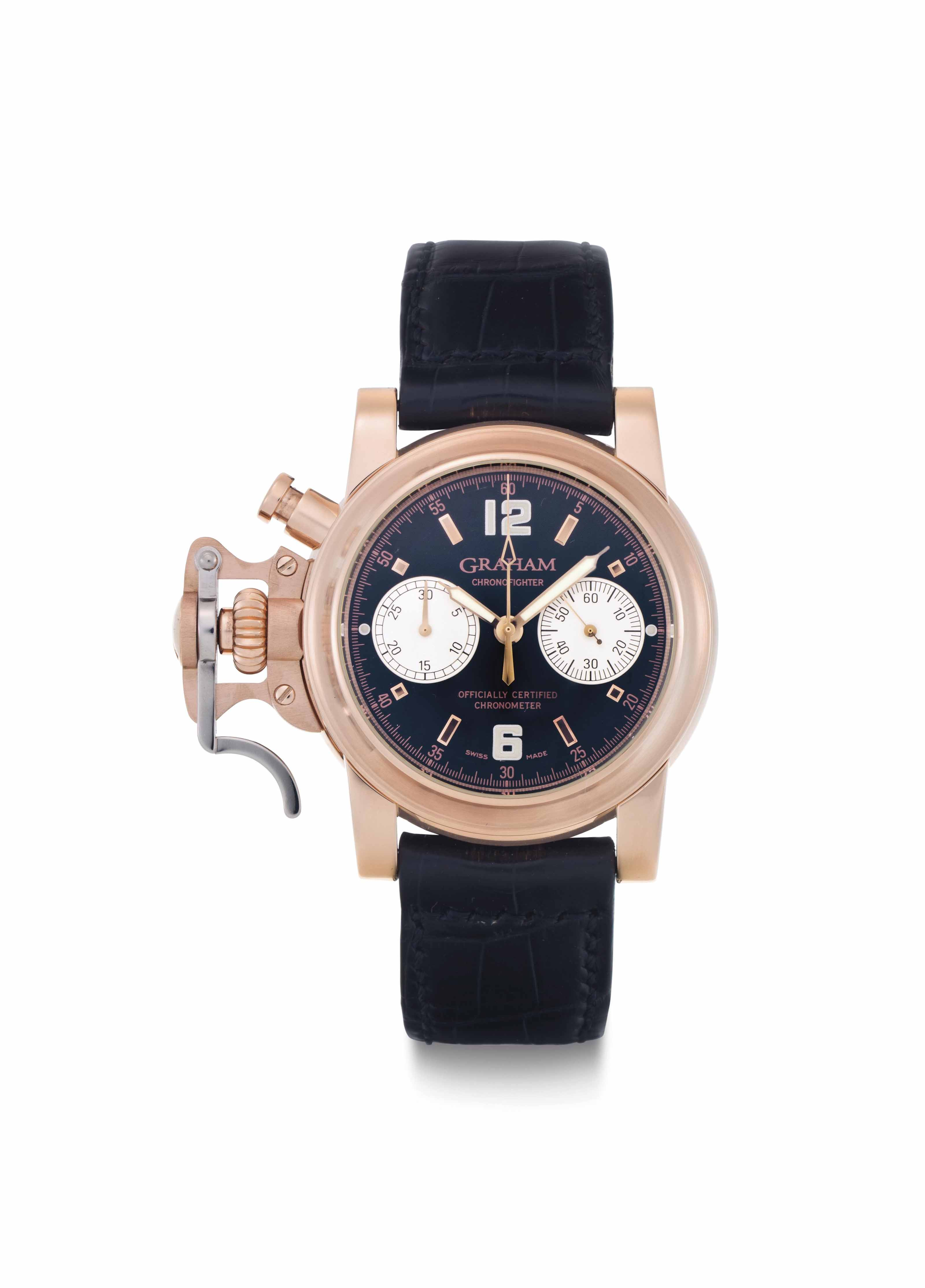 Graham. A Large 18k Pink Gold Automatic Left-Handed Chronograph Wristwatch