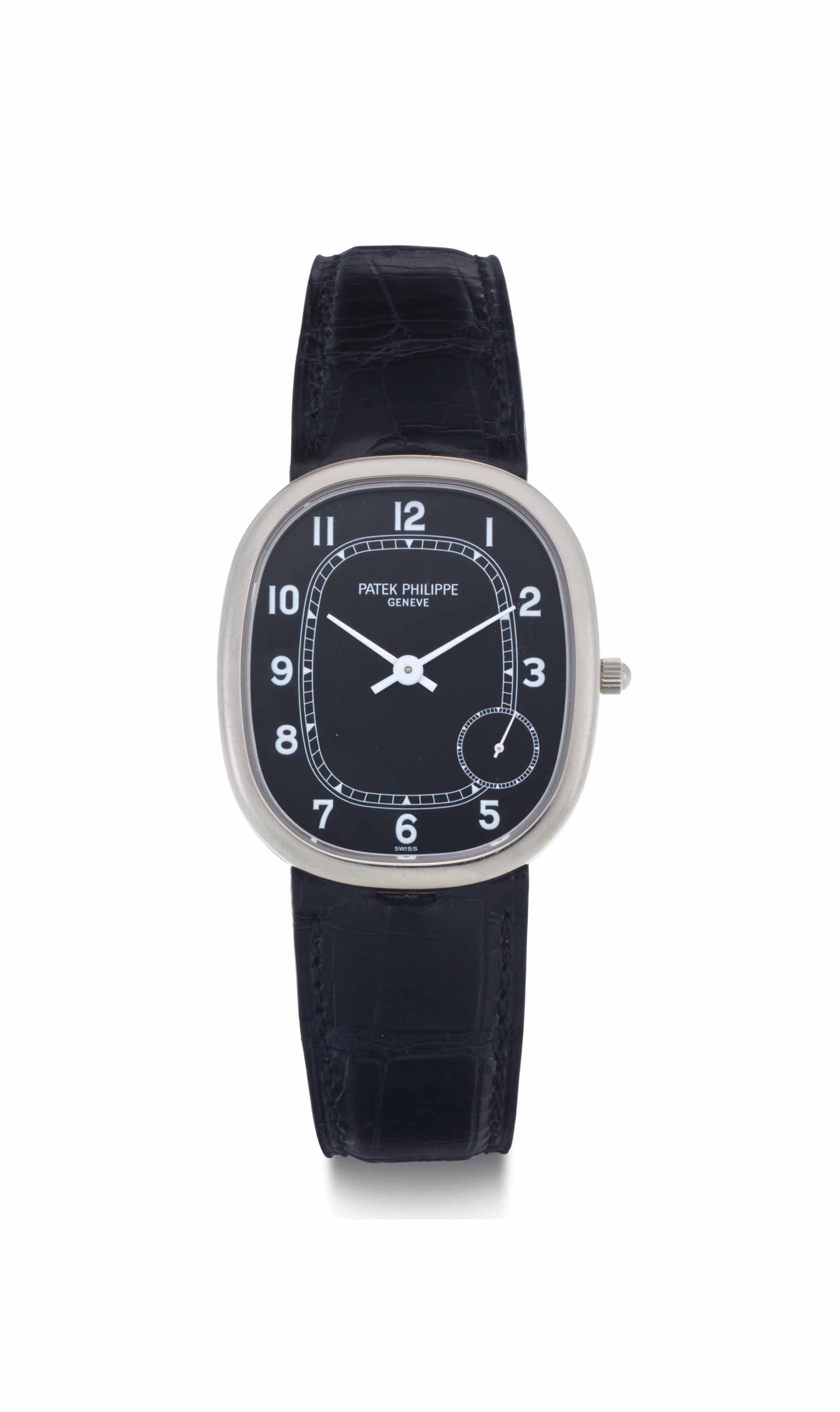 Patek philippe a large 18k white gold oval shaped automatic wristwatch signed patek philippe for Patek philippe geneve