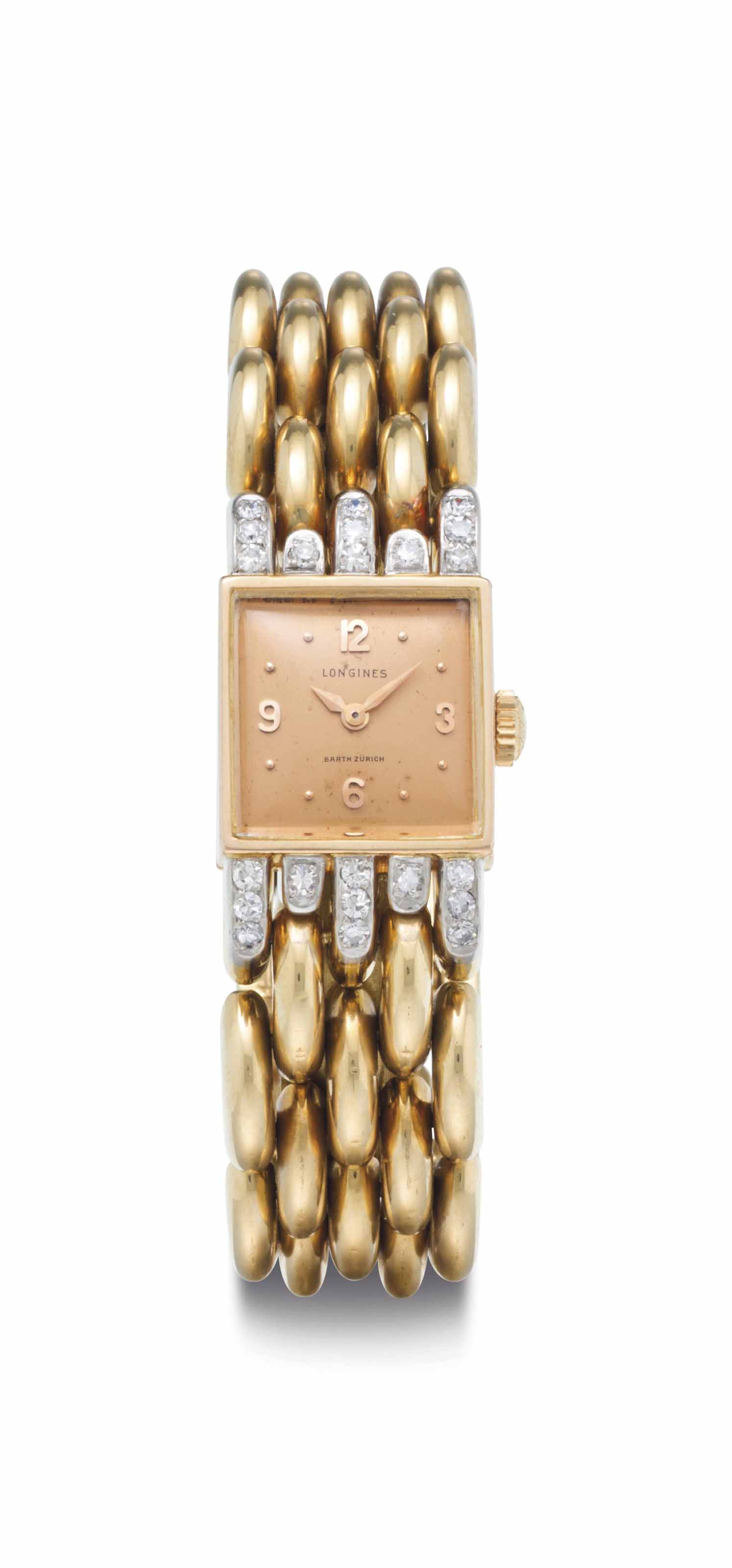 Longines. A Lady's 18k Gold Tw