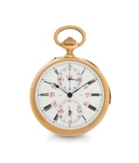 LeRoy. A Fine 18k Pink Gold Minute Repeating Openface Chronograph Keyless Lever Watch with Twenty-four Hour Dial