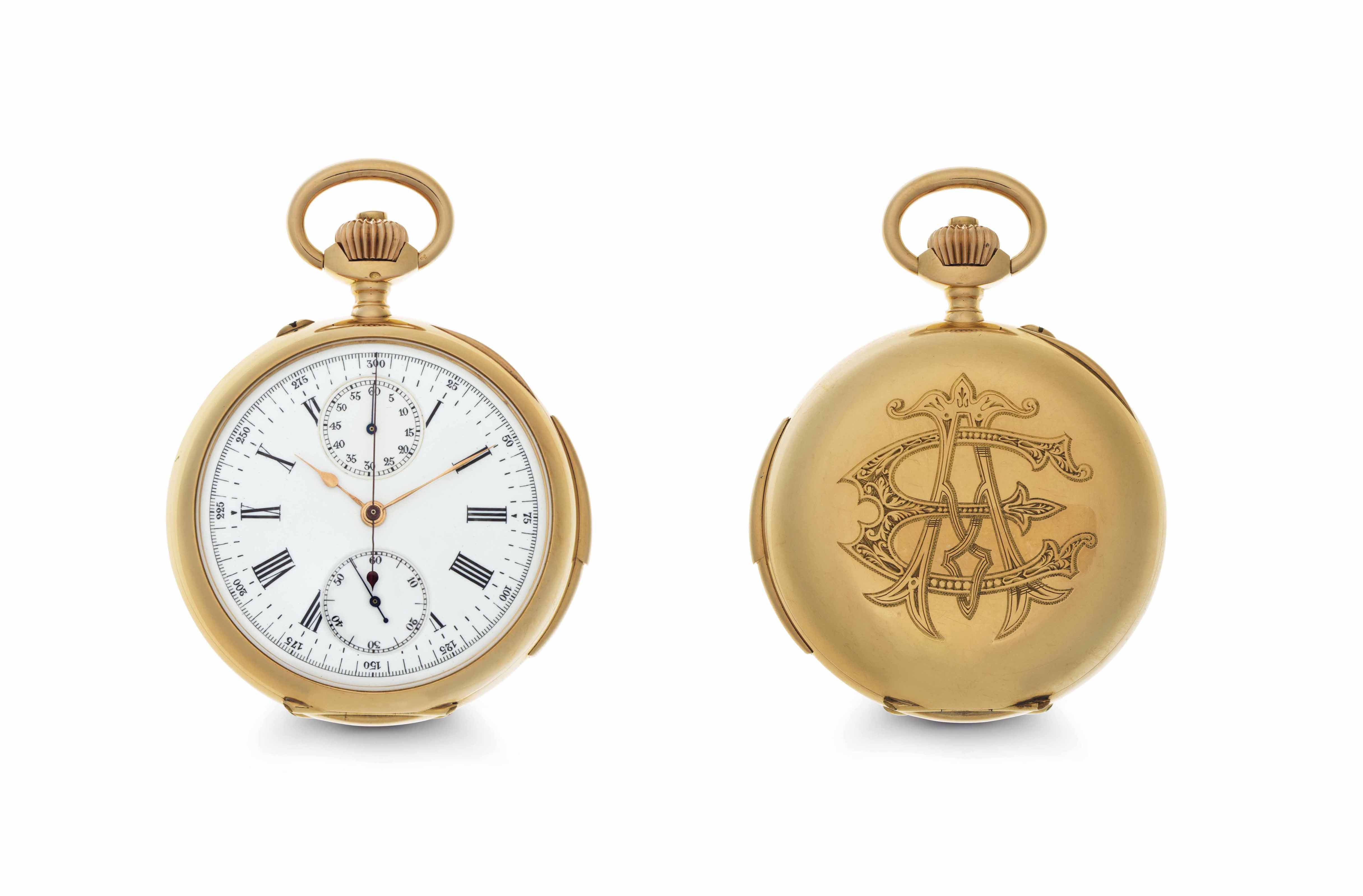 LeRoy. An 14k Pink Gold Minute Repeating Openface Chronograph Keyless Lever Pocket Watch