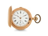 Armand. An 18k Pink Gold Minute Repeating Hunter Case Chronograph Keyless Lever Pocket Watch