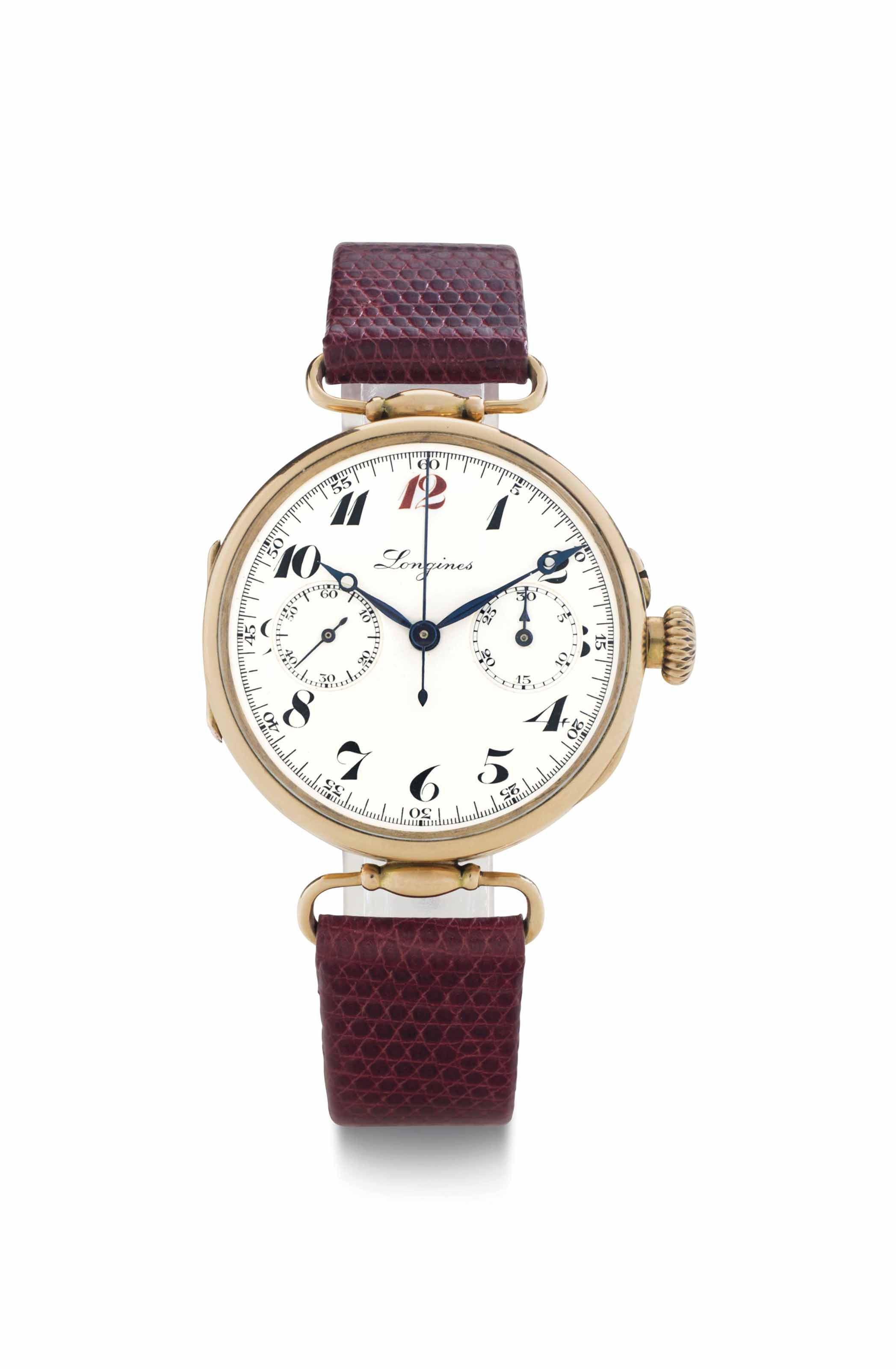 Longines. A 14k Pink Gold Sing