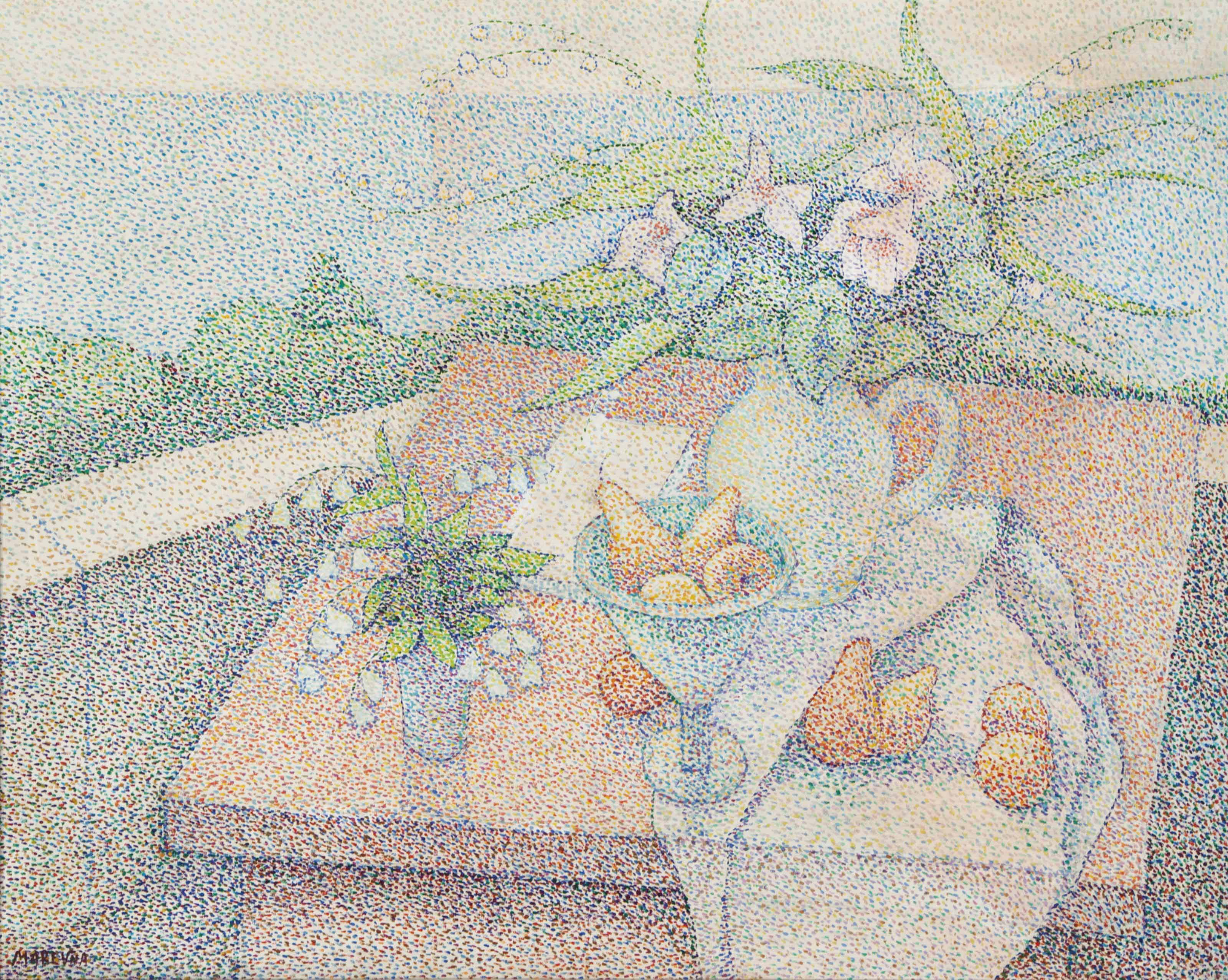 Still life with flowers and pears