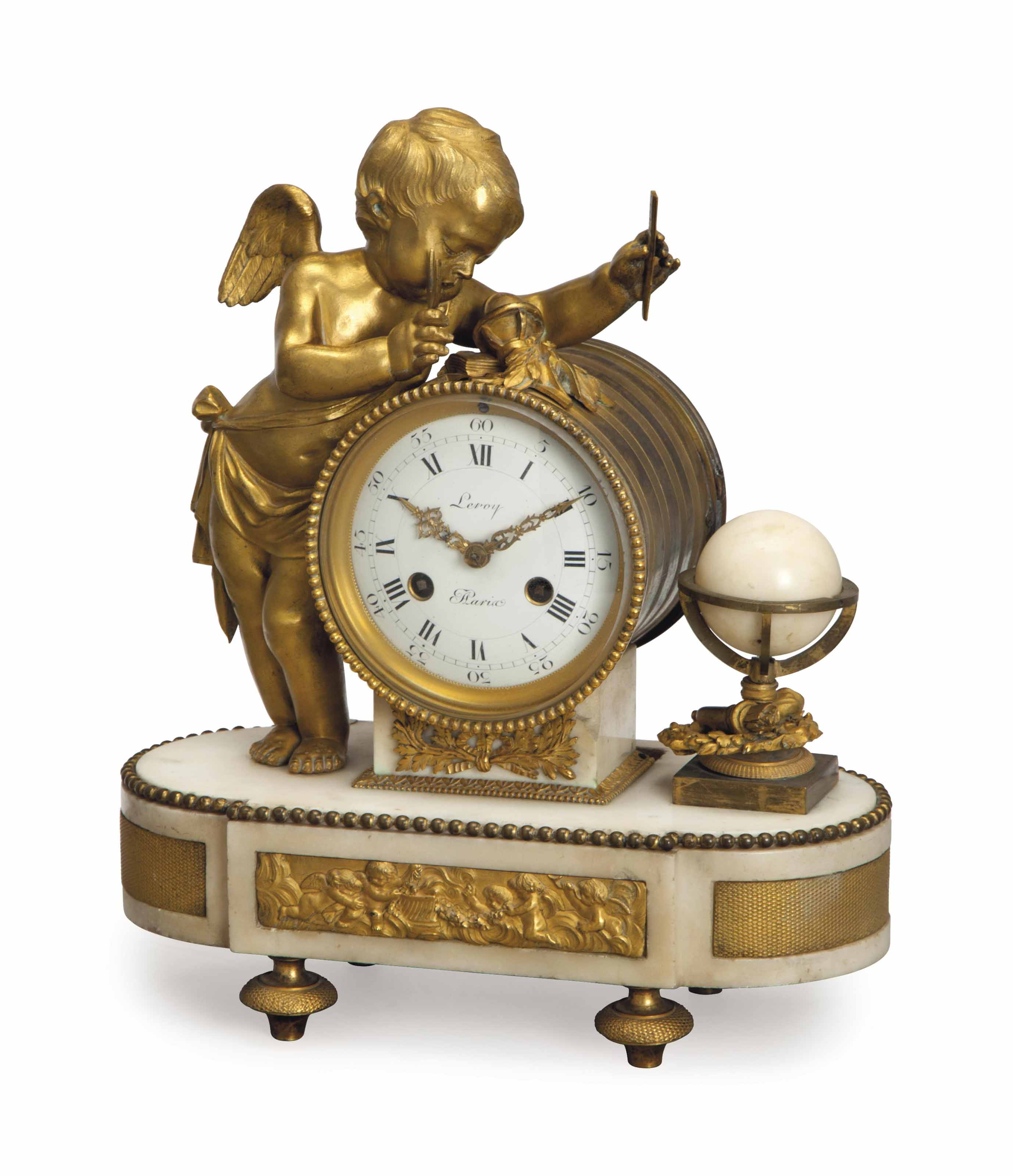 A LOUIS XVI GILT METAL WHITE MARBLE MANTEL CLOCK,