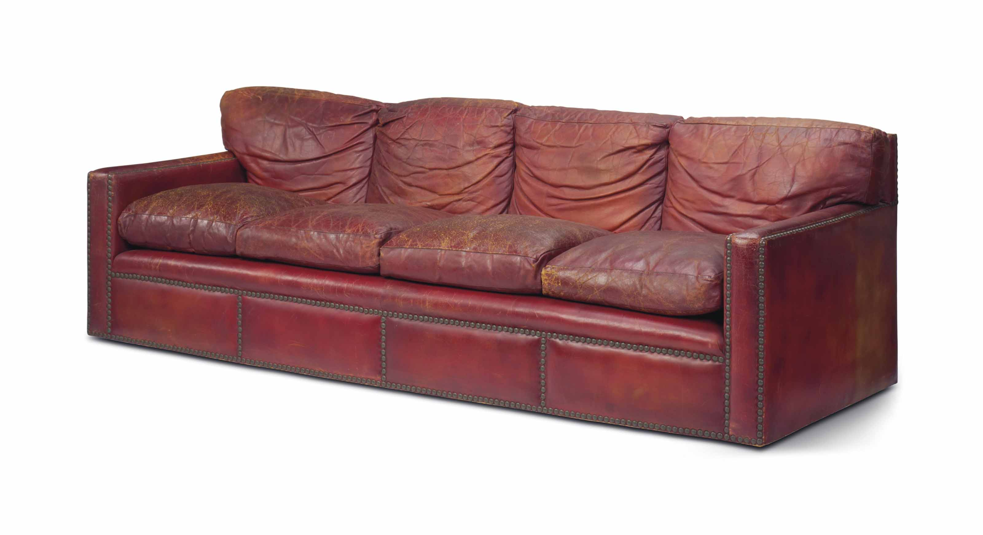 A Red Leather Closed Nail Upholstered Sofa 20th Century