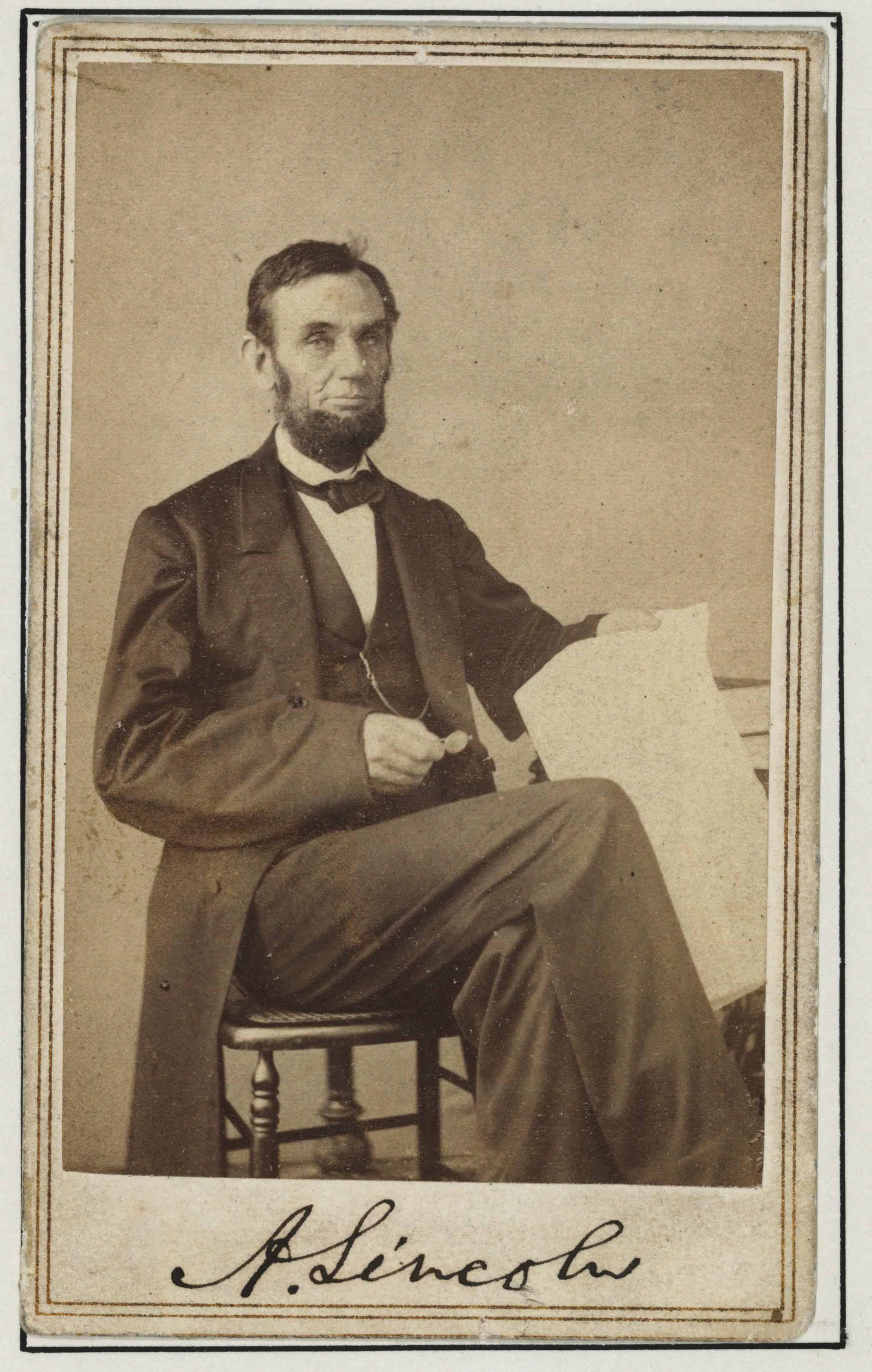 GARDNER Alexander Photographer Carte De Visite Photograph Signed A Lincoln As President Backstamp Of GardnerWashington