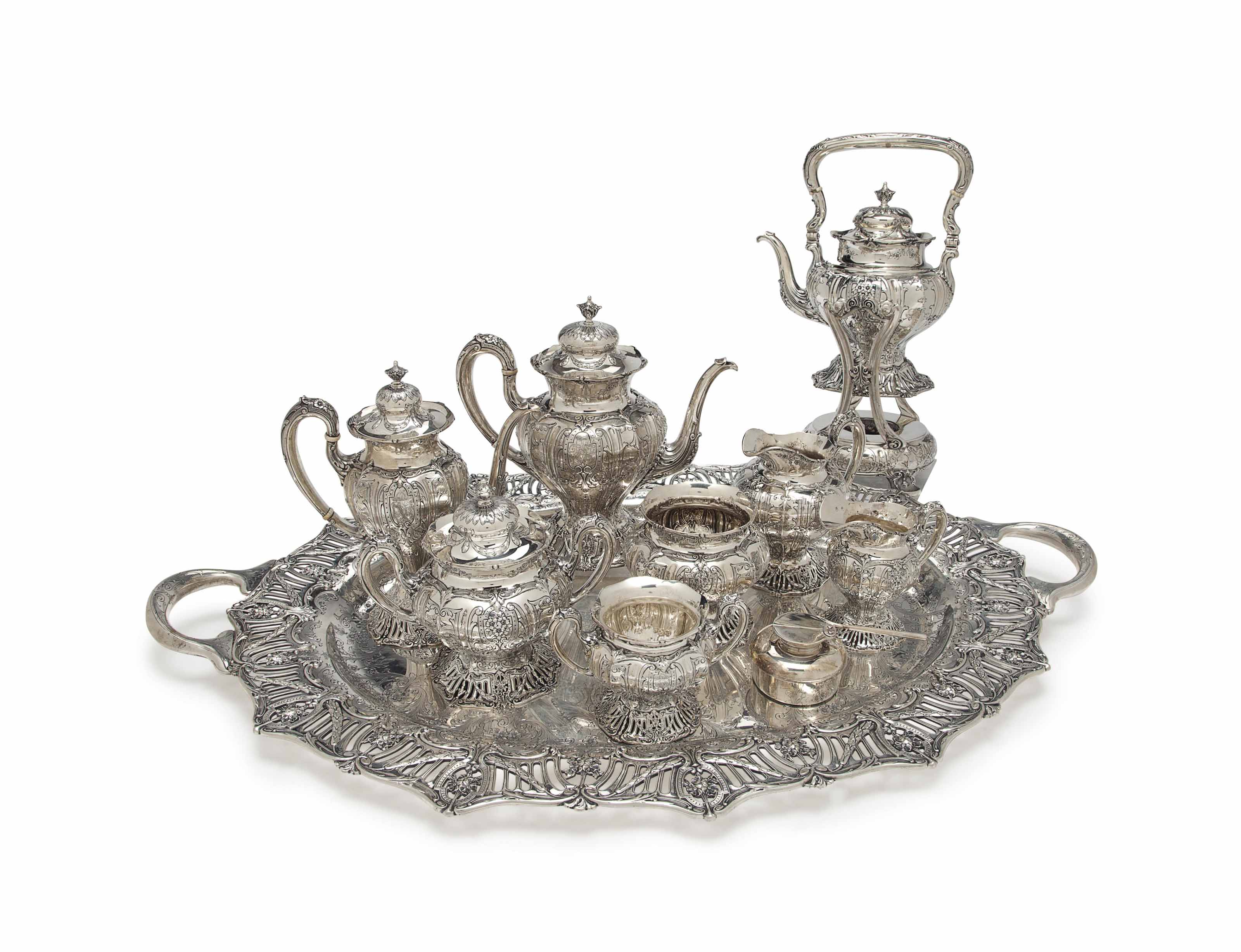 AN AMERICAN SILVER EIGHT-PIECE TEA AND COFFEE SERVICE,