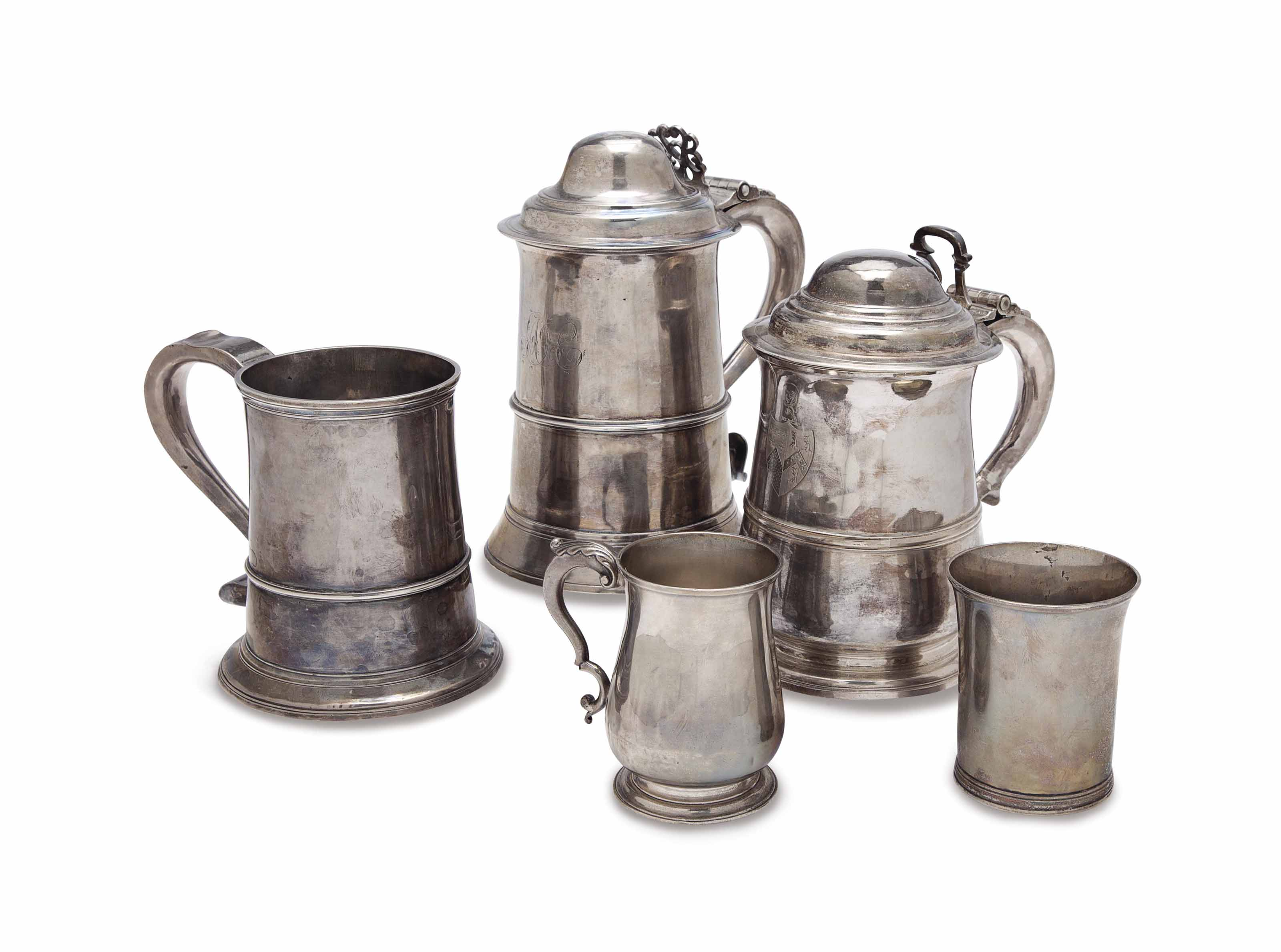 A GROUP OF GEORGE II AND III SILVER DRINKWARES,