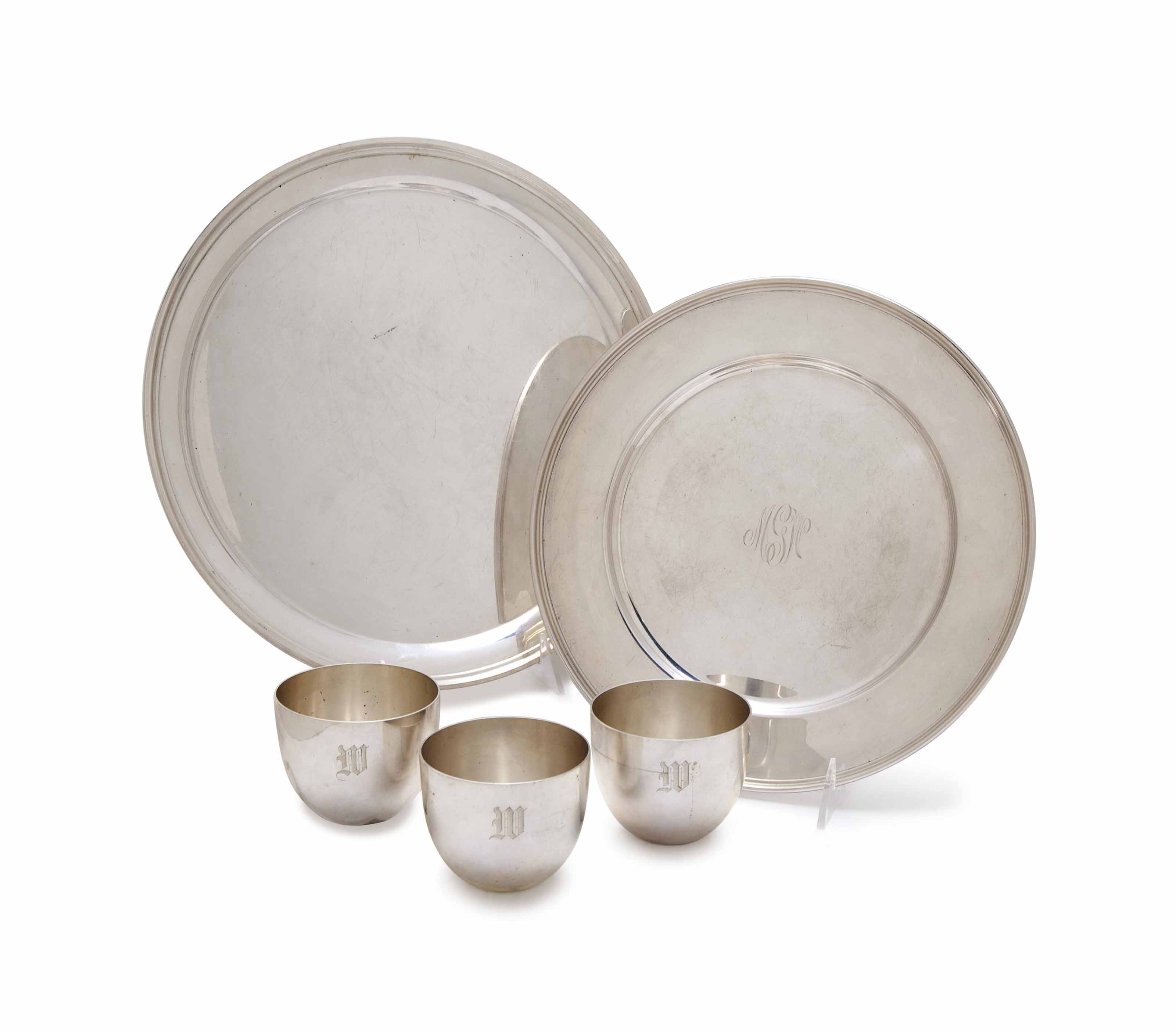 AN ASSEMBLED GROUP OF EIGHT AMERICAN SILVER 'JEFFERSON CUPS', AND TWO CIRCULAR TRAYS,