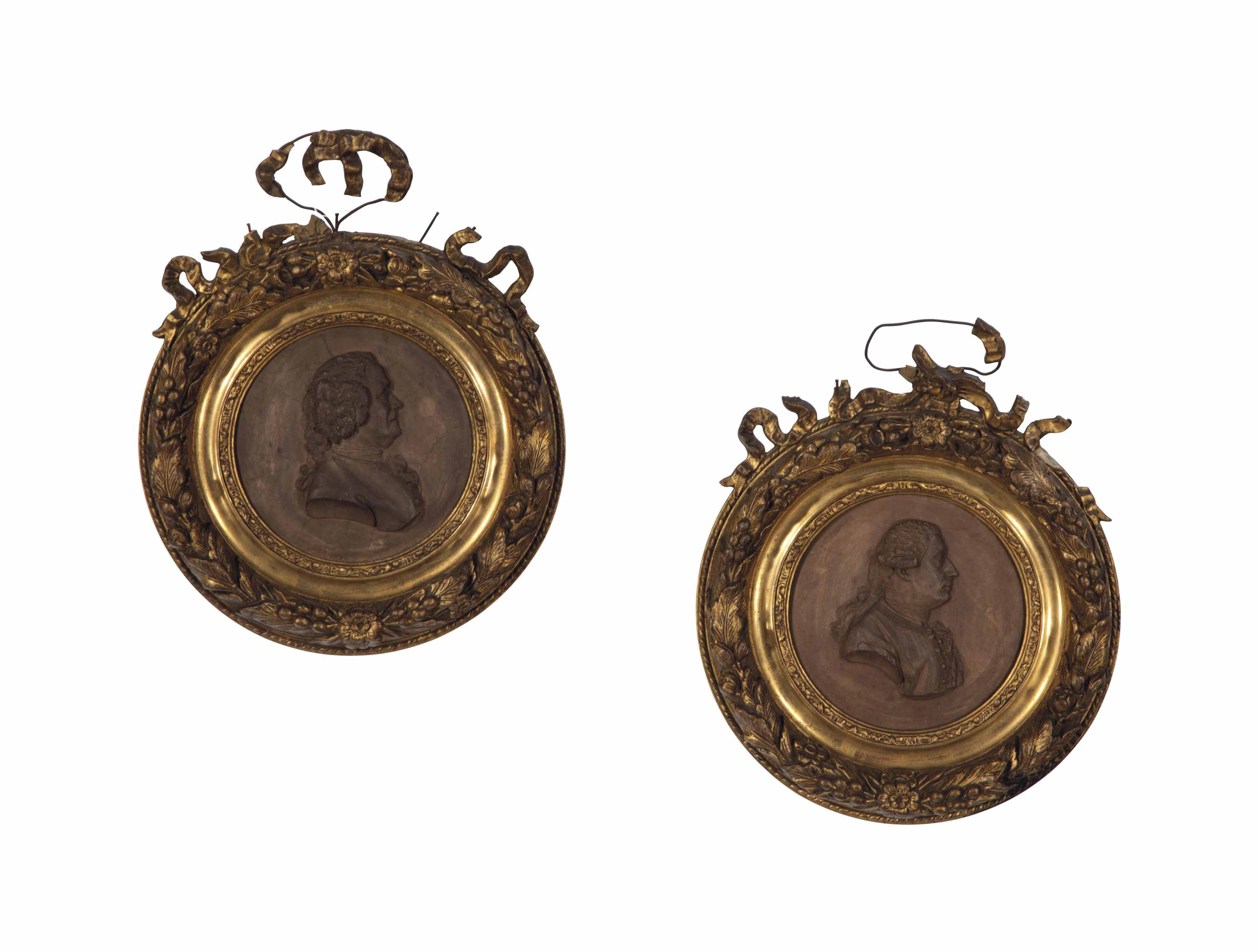 A PAIR OF LOUIS XV TERRACOTTA RELIEF PORTRAITS,