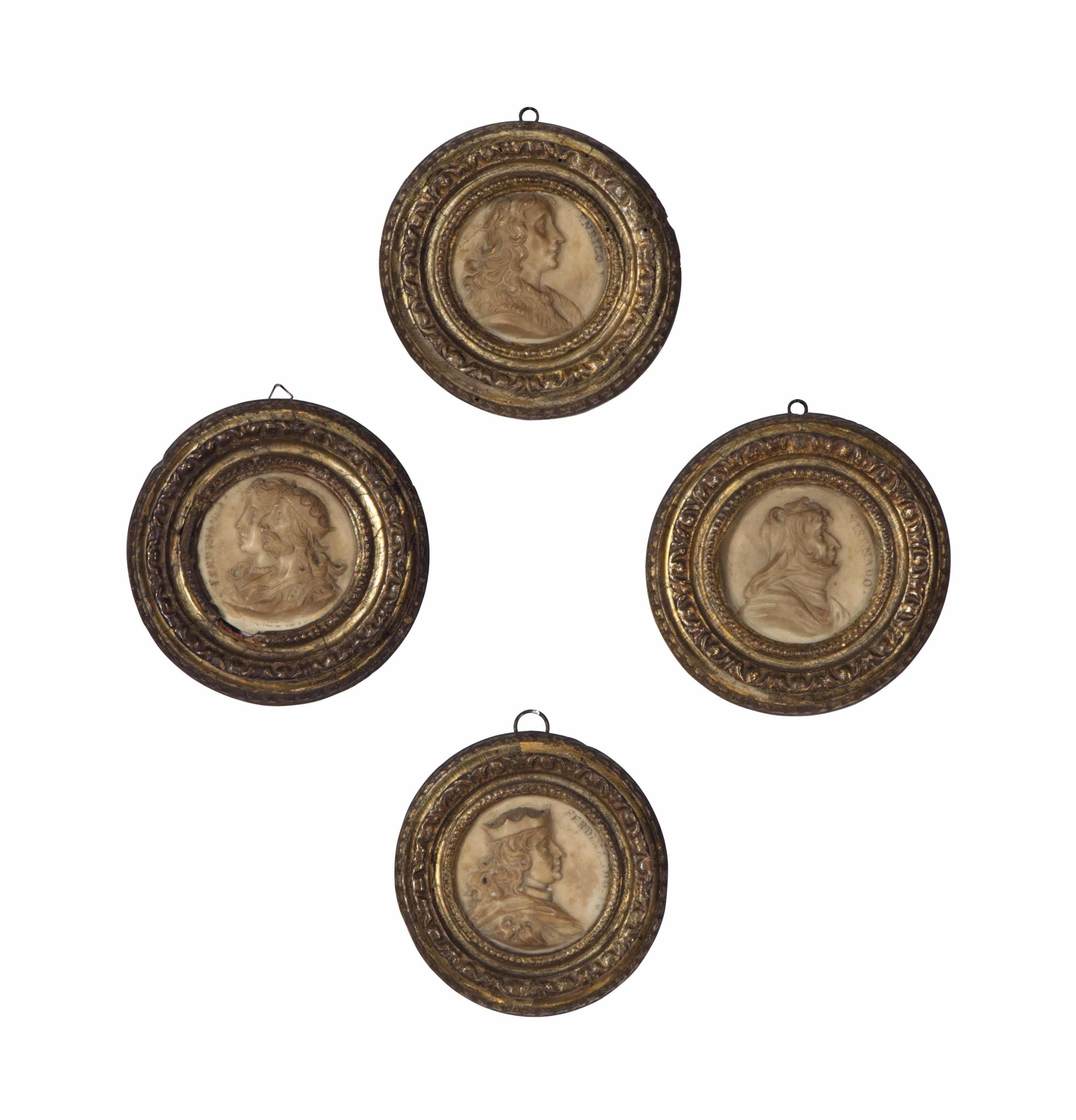 A SET OF FOUR WHITE MARBLE RELIEF PORTRAITS OF HOLY ROMAN EMPERORS,
