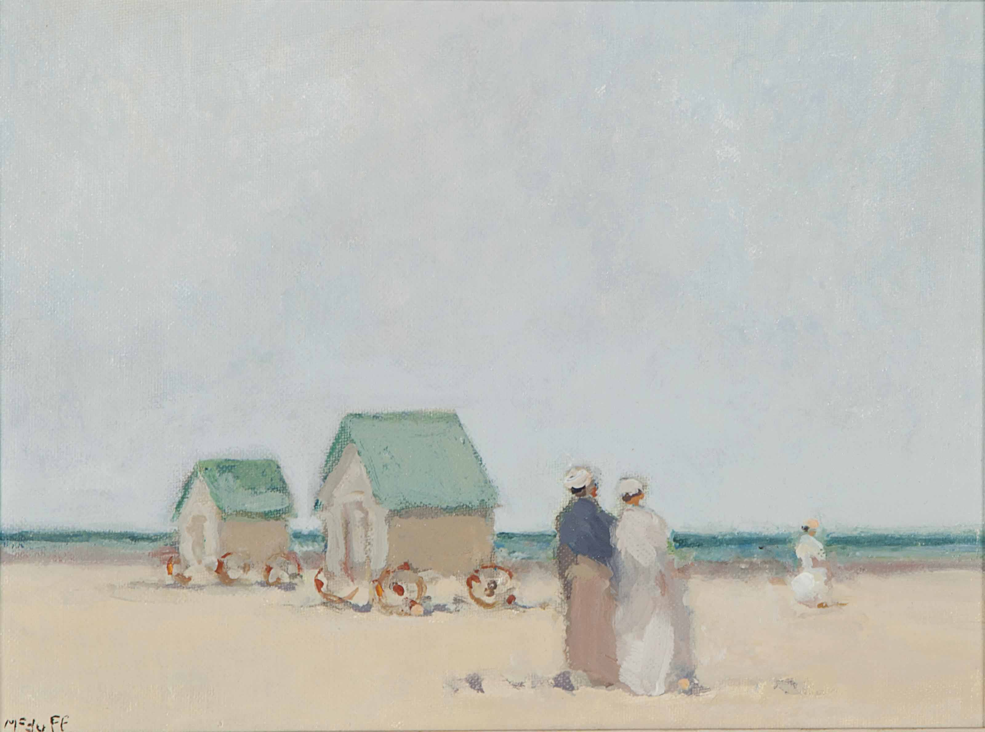 Three figures on a beach; and a companion painting