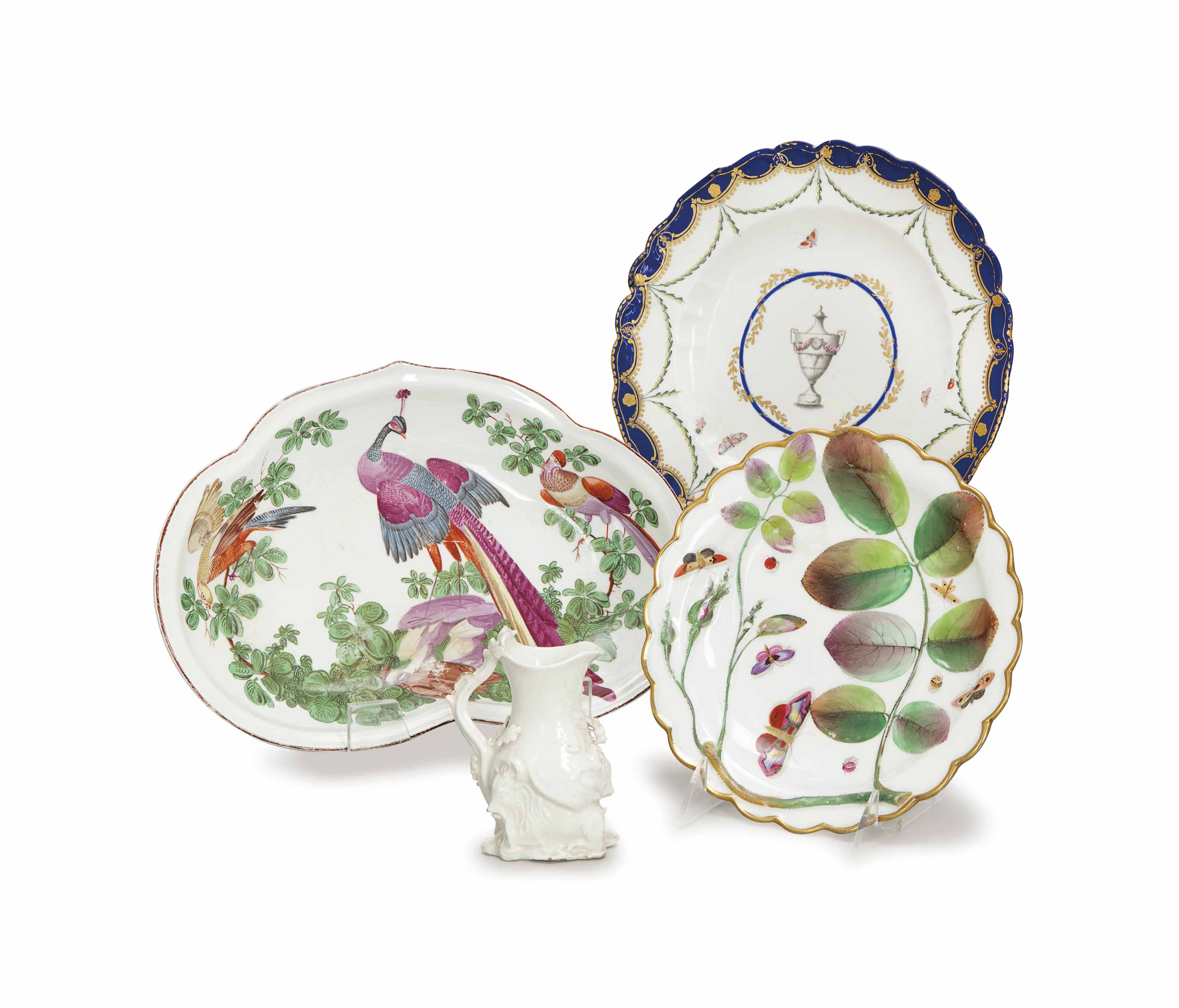 AN ASSEMBLED GROUP OF ENGLISH PORCELAIN TABLEWARES,