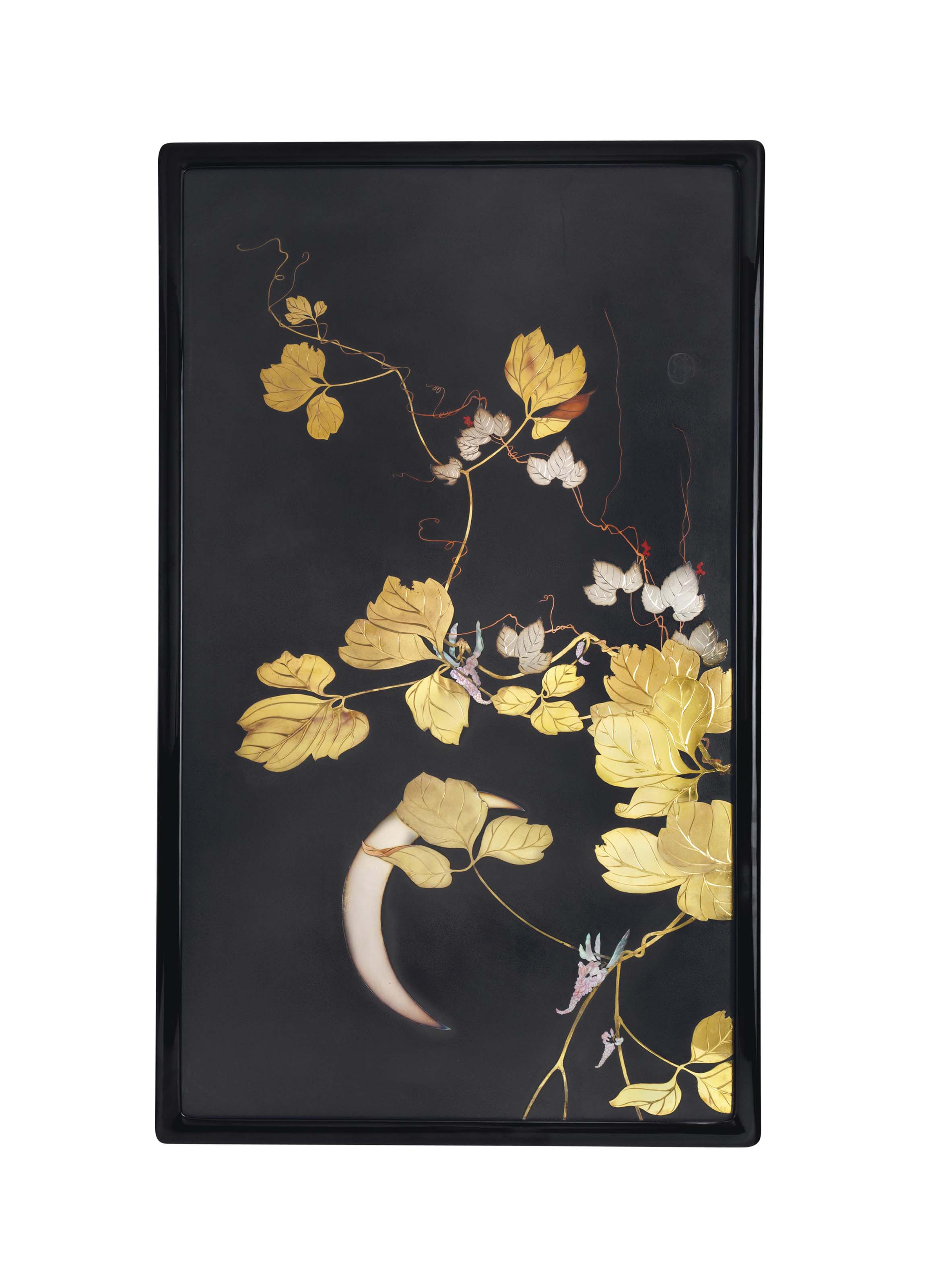 An inlaid mixed-metal lacquer panel