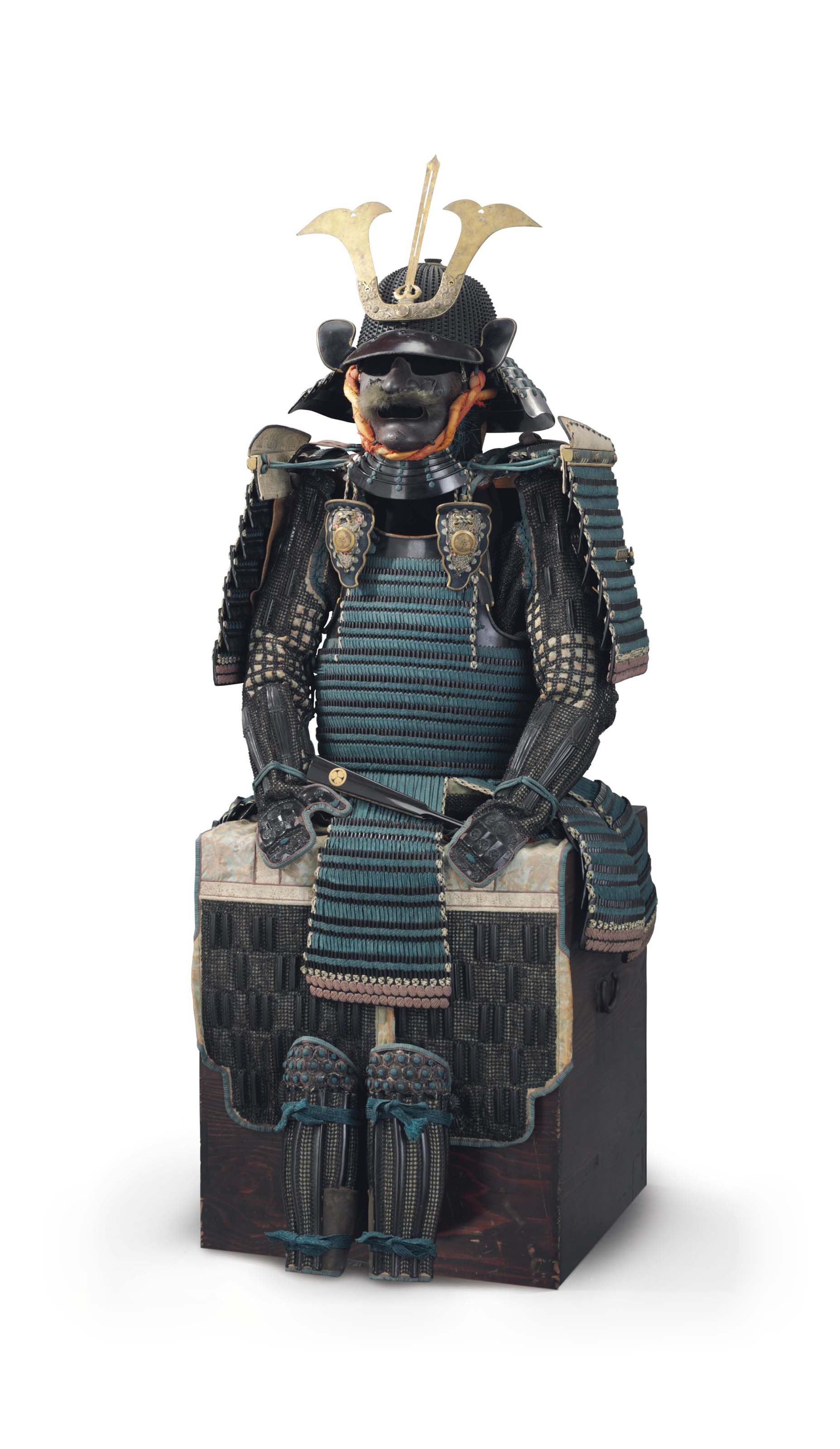 Green laced hon-kozane nimai-do Tokugawa gusoku (armor)