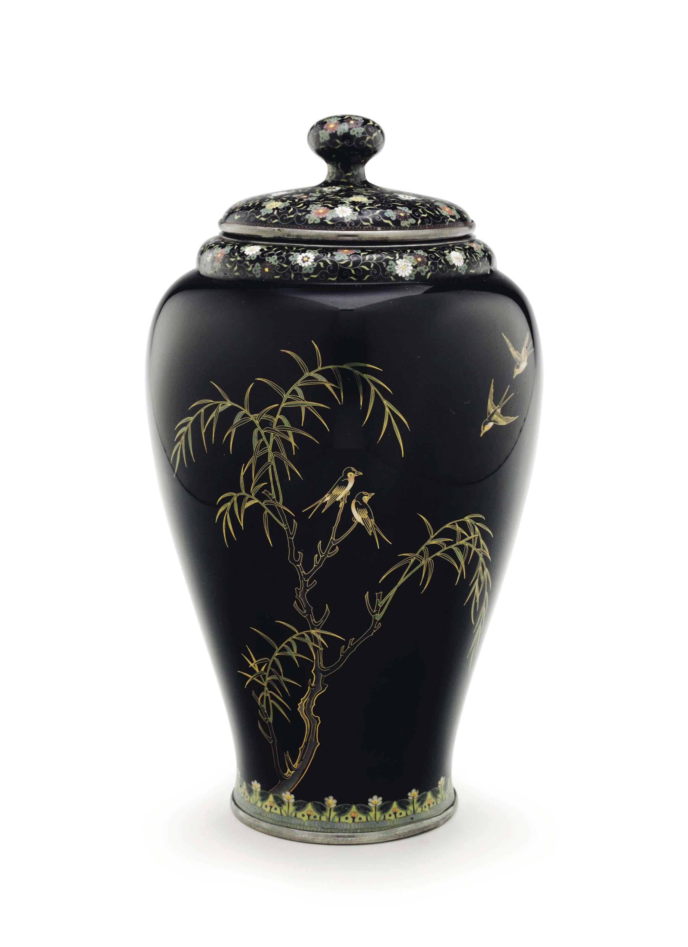 A cloisonné enamel vase and cover