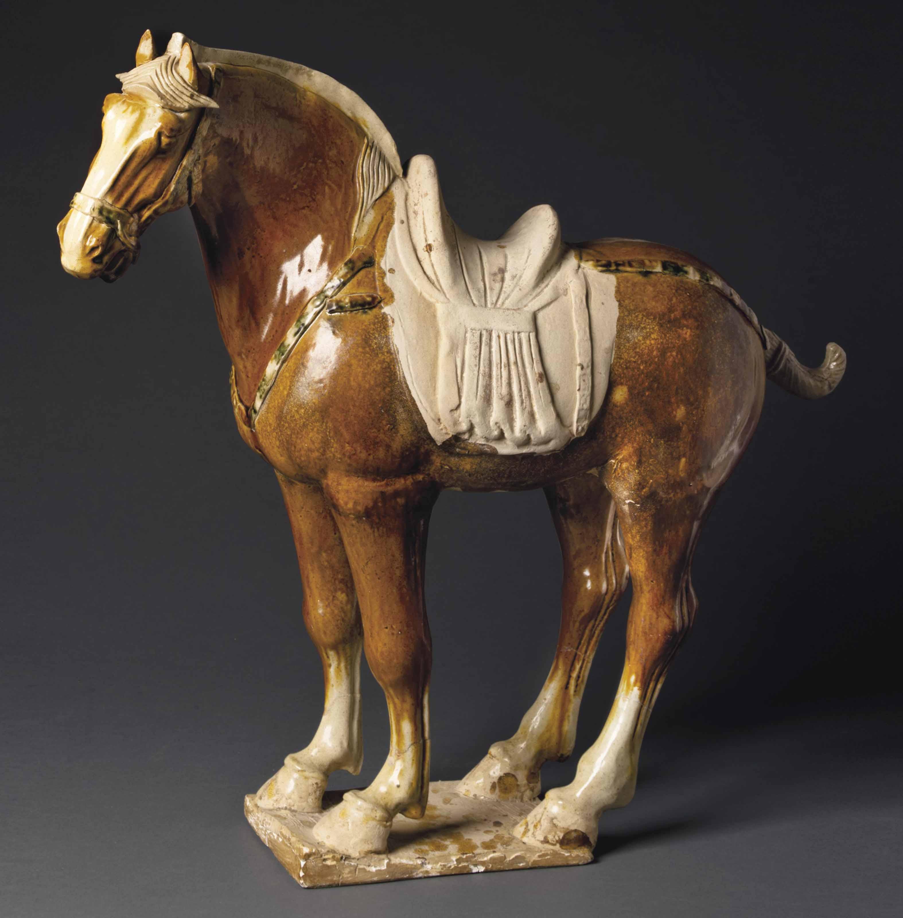 A Large Sancai Glazed Pottery Figure Of Horse