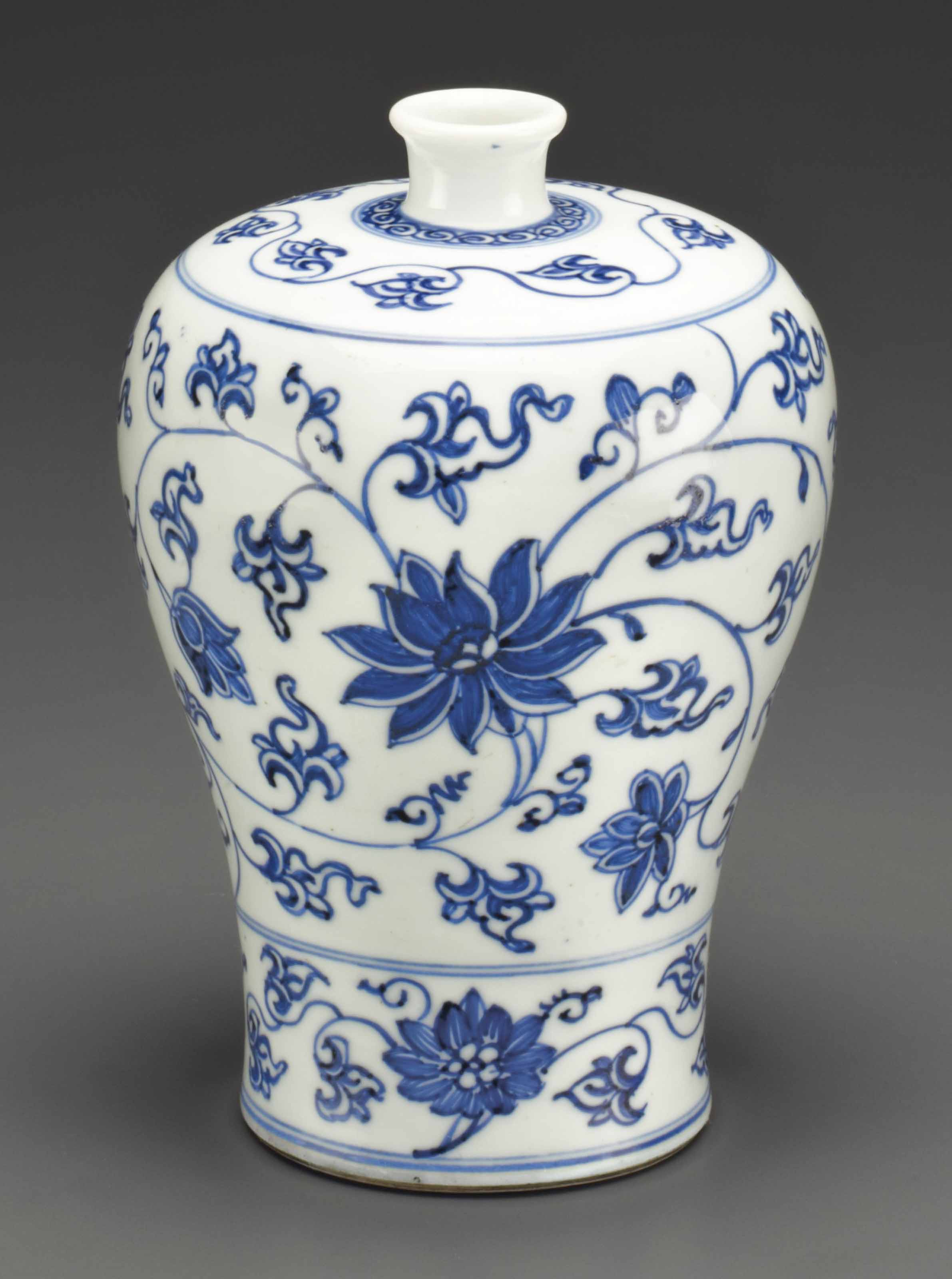 A SMALL BLUE AND WHITE MEIPING