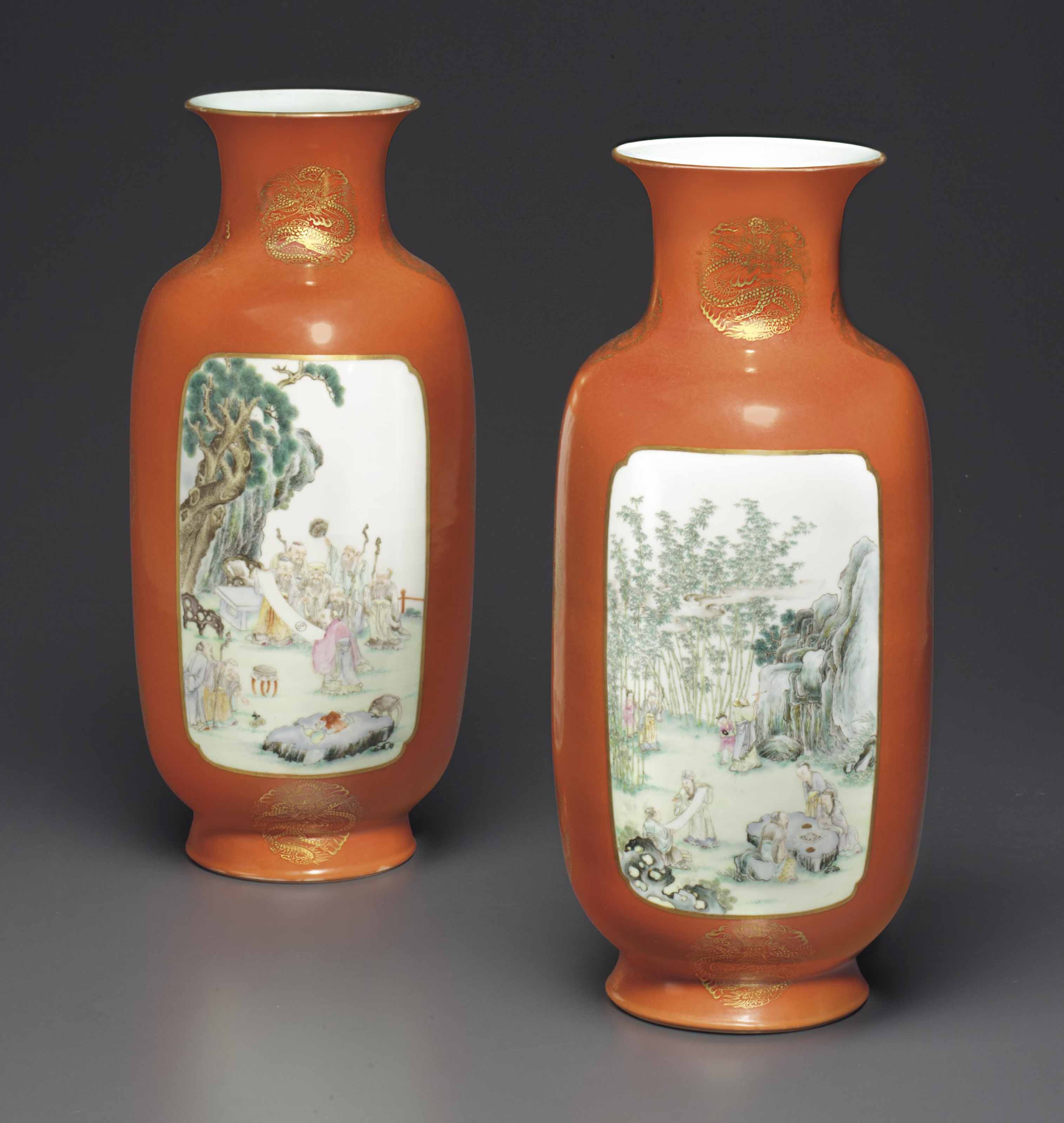 A PAIR OF FAMILLE ROSE CORAL-RED GROUND OVOID VASES