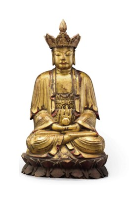 A GILT-LACQURED WOOD FIGURE OF