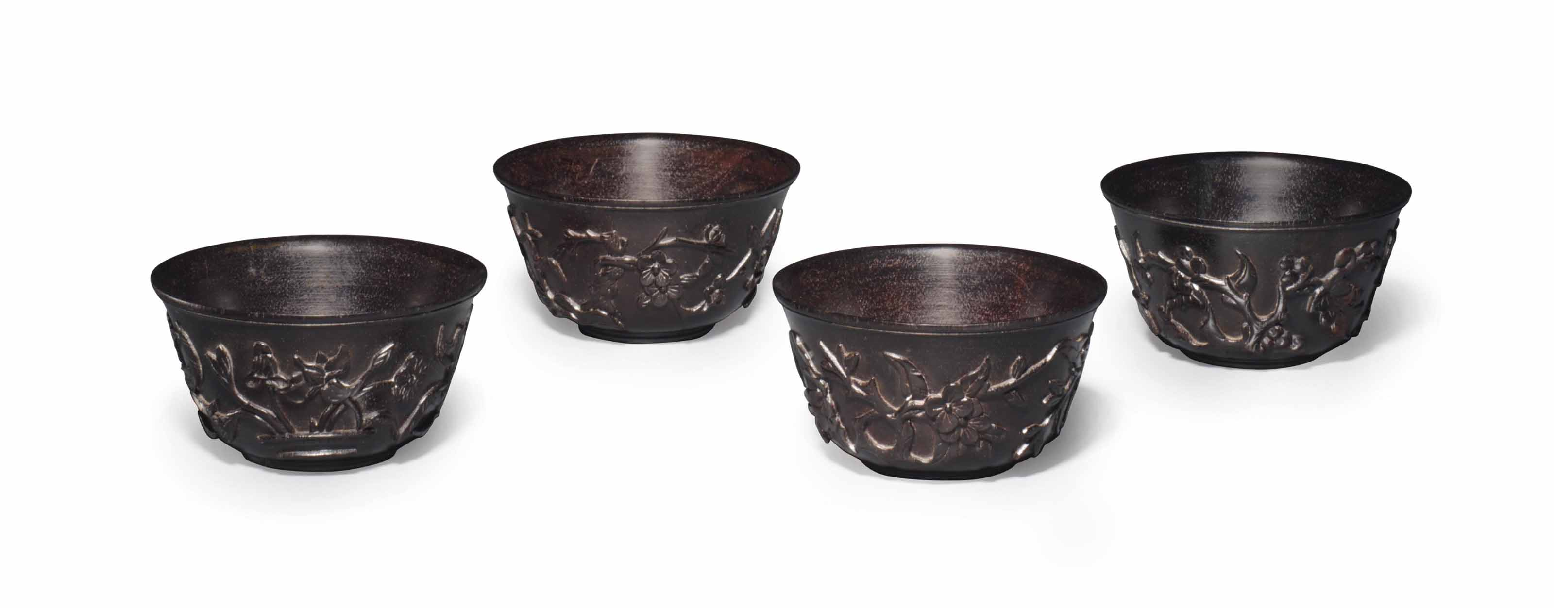 A SET OF FOUR ZITAN CUPS