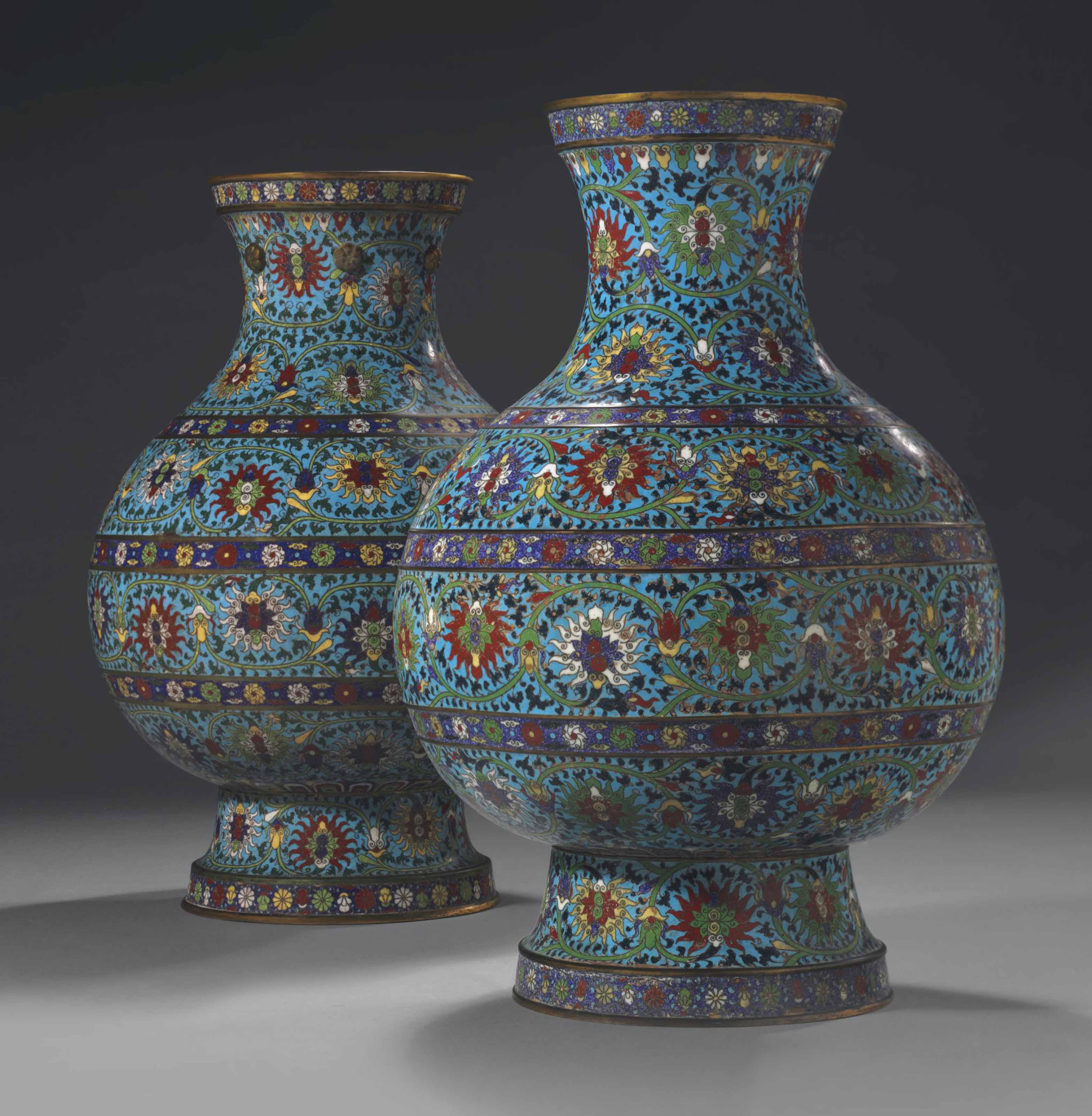 TWO RARE LARGE CLOISONNE ENAME