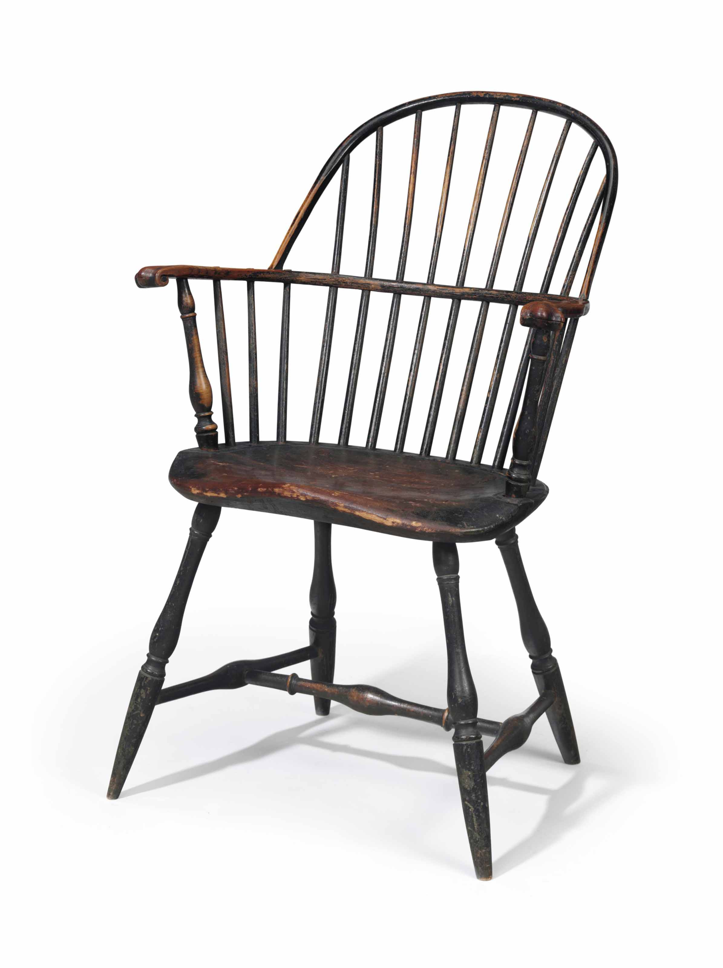 A Green Painted Sack Back Windsor Armchair Philadelphia
