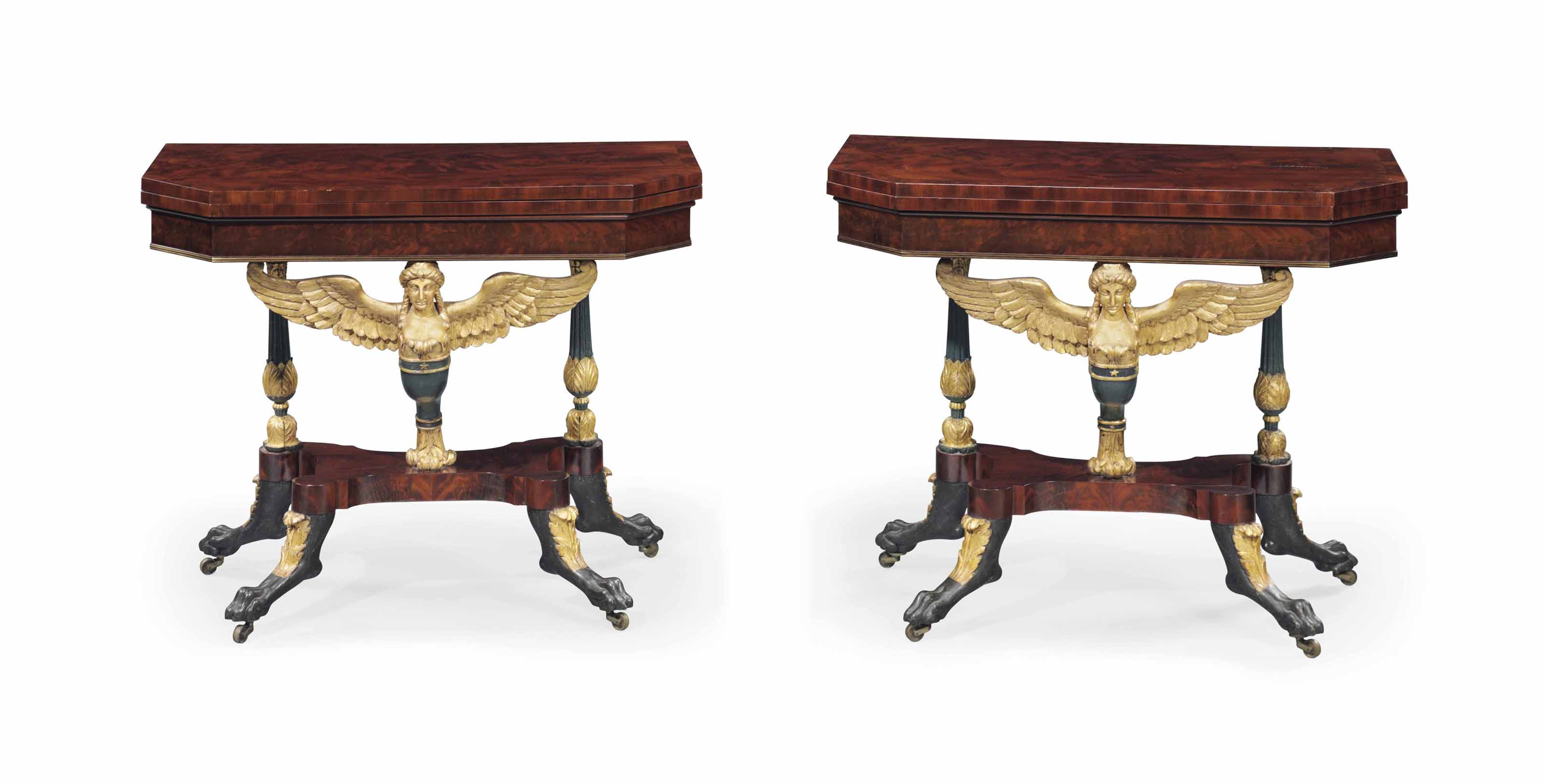 A PAIR OF CLASSICAL PARCEL-GILT, VERDIGRIS AND BRASS-INLAID MAHOGANY CARYATID CARD TABLES