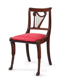 A CLASSICAL MAHOGANY AND BRASS-MOUNTED HARP-BACK SIDE CHAIR