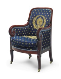 THE LUMAN REED CLASSICAL CARVED AND FIGURED MAHOGANY UPHOLSTERED ARMCHAIR EN GONDOLE