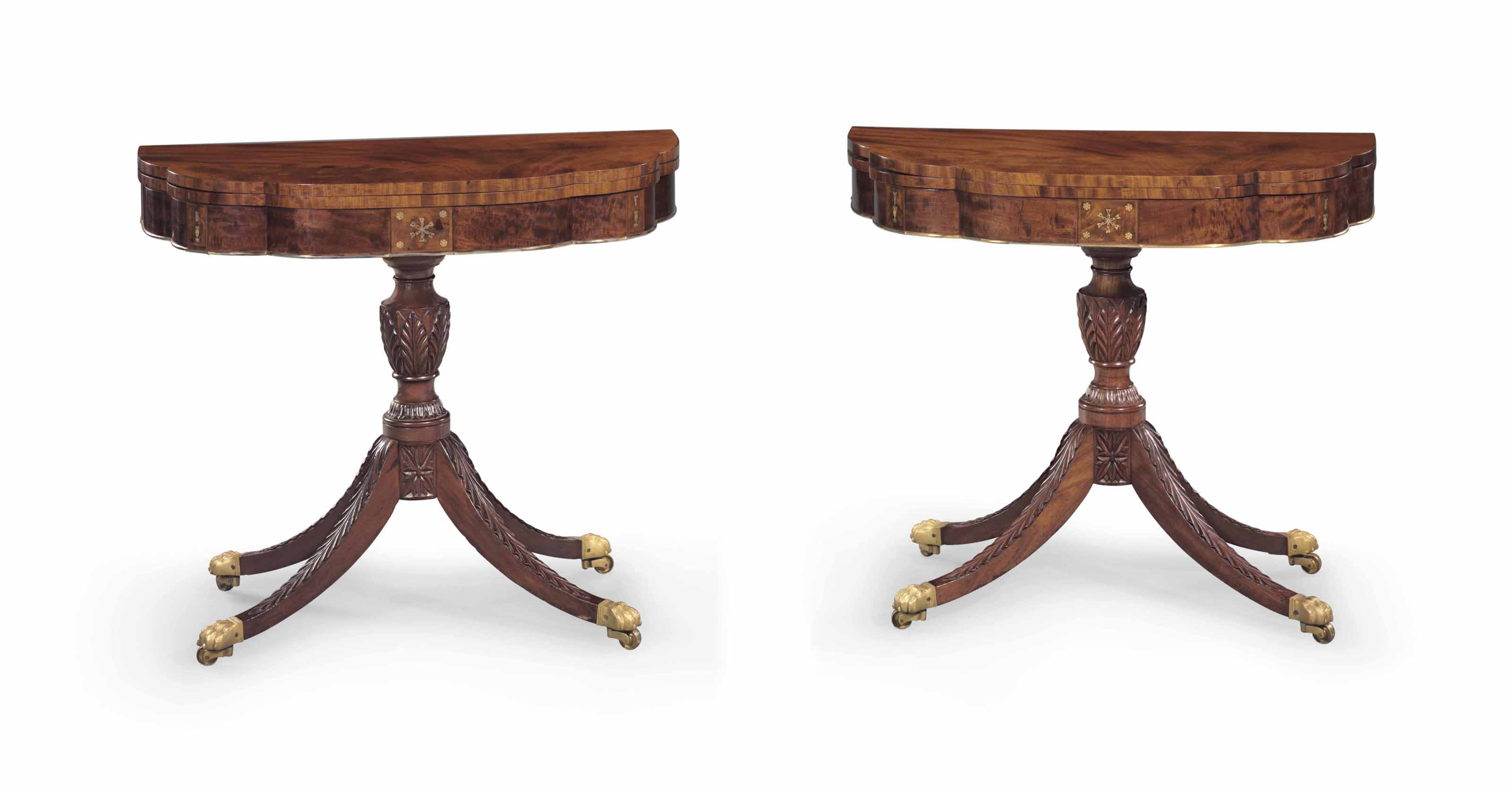 A PAIR OF CLASSICAL BRASS-INLAID MAHOGANY CARD TABLES