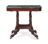 A CLASSICAL BRASS-INLAID CARVED MAHOGANY MARBLE-TOP PIER TABLE
