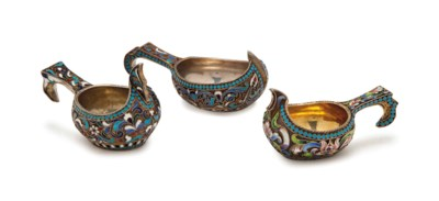 THREE RUSSIAN SILVER AND SILVE