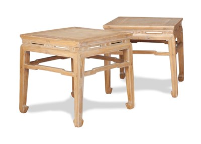 A PAIR OF CHINESE BLEACHED ELM