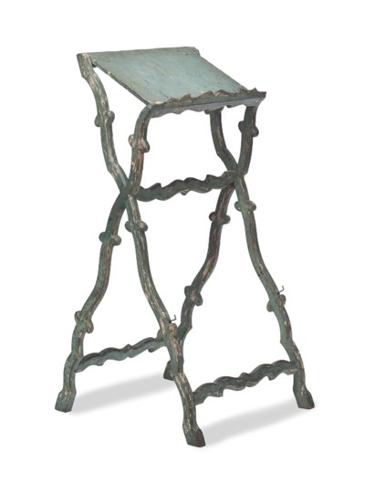 A LOUIS XV STYLE BLUE-PAINTED