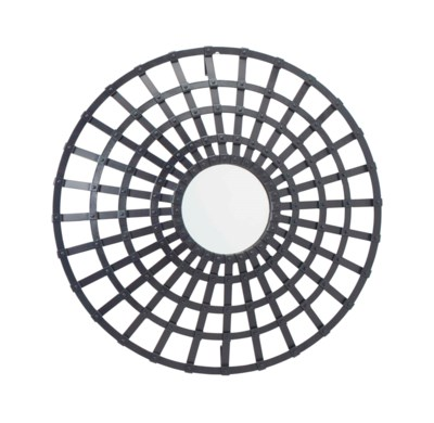 A RIVETED IRON MIRROR,