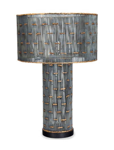 A STEEL AND PARCEL GILT LAMP,